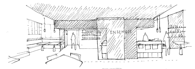 Ensemble Wells Restaurant Sketch Overview Counter