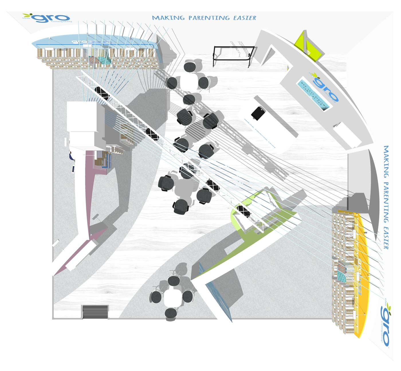 The Gro Company Booth Layout Ariel View