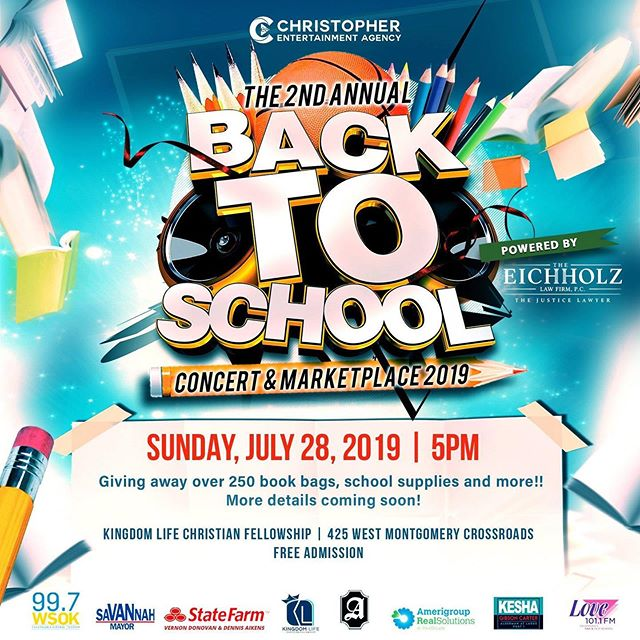Glad to partner again with the @mrjchristopher1 and the Christopher Entertainment Agency DBA at the 2nd Annual Back to School Concert and Marketplace at @kingdomlifesav to make sure our young people get started right for this school year! #SaVANnah #VanSAV2019 #StandWithVan