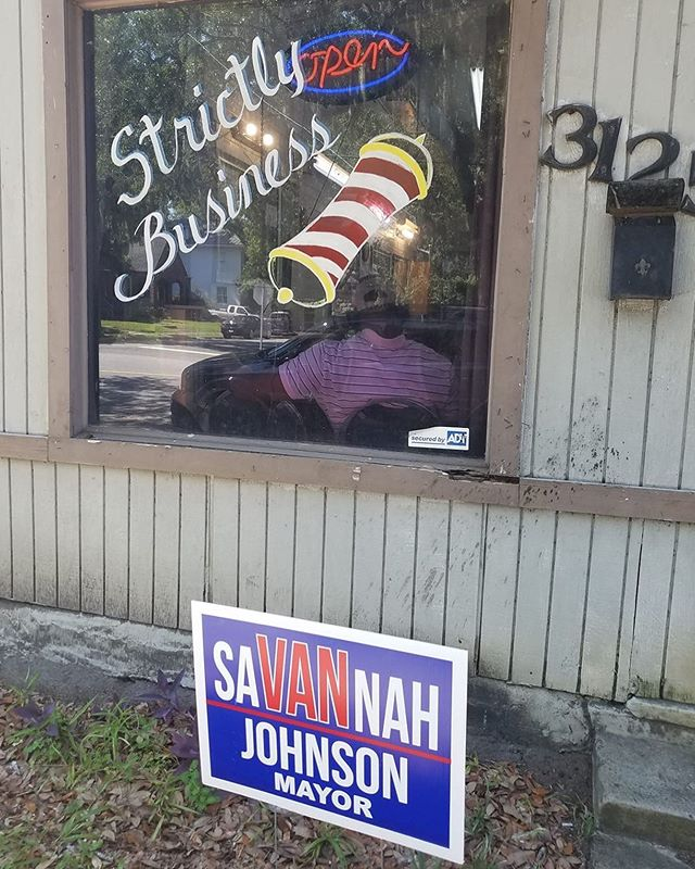 Thank you to Strictly Business Hair & Styling, 3125 Bull Street for your #StandWithVan!  If your #SaVANnah barber, beauty shop or business is a #VanFan, please inbox us a picture with a sign in front!  #VanSAV2019