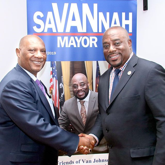 """ENDORSEMENT ALERT -  The Right Reverend Reginald T. Jackson, the Presiding Prelate of the 6th District AME Church endorses Alderman Van Johnson for Mayor of #Savannah, GA and encourages AME members to support his candidacy.  Bishop Jackson describes Alderman Johnson as a man of vision and integrity and believes that he is the best candidate to lead Savannah at this crucial point in her history. """"I am so grateful and honored to have the support of Bishop Jackson as I seek to become Savannah's Mayor"""" says Alderman Johnson. He adds, """"Savannah's faith community is large, diverse and strategic partnerships with them are essential to Savannah's bright future!"""" #VanSAV2019 #SaVANnah #StandWithVan"""