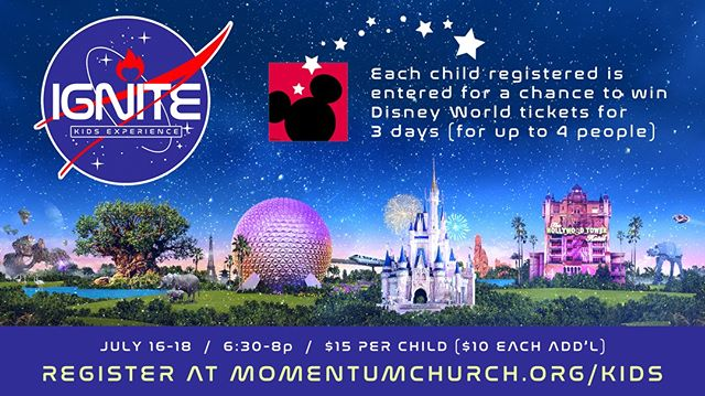 IGNITE is happening NEXT WEEK! Don't miss it. We're going to be blasting off through the universes of music & production Tuesday, Wednesday, and Thursday evenings at our Central Office located at 2990 Gulf Breeze Parkway. For more information and to register your first through fifth grader, please visit momentumchurch.org/kids