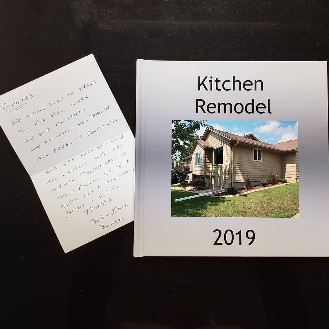 The home owners popped by to give us a photo album of their project & a little thank you note. They are thrilled with their new space and we look forward to a future friendship with these great clients. Time for their 1st dinner party in their new space!