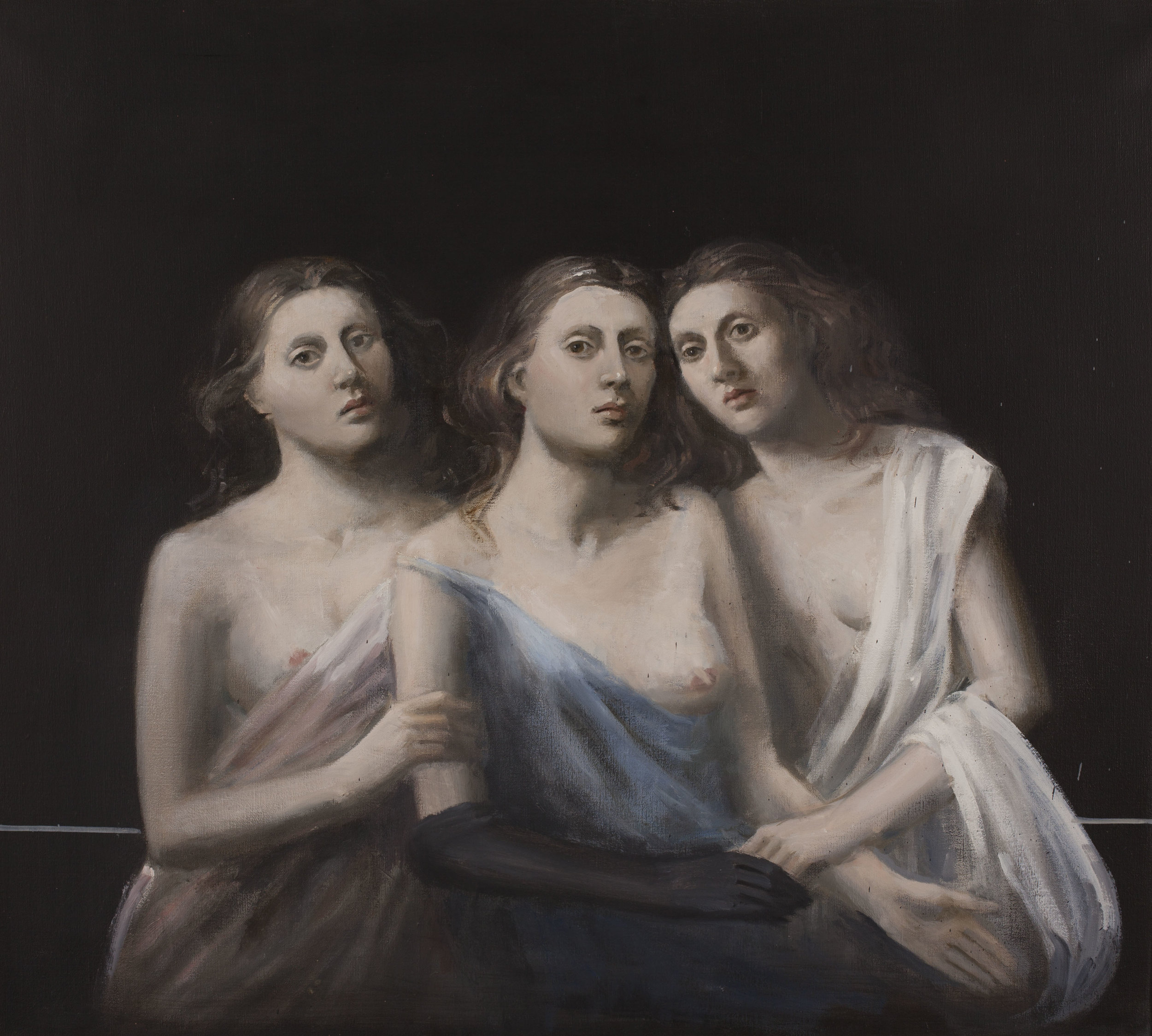 Raymond Han (1931-2017),  Untitled (Three Sisters) , ca. 2003. Oil on linen, 34 x 36 inches