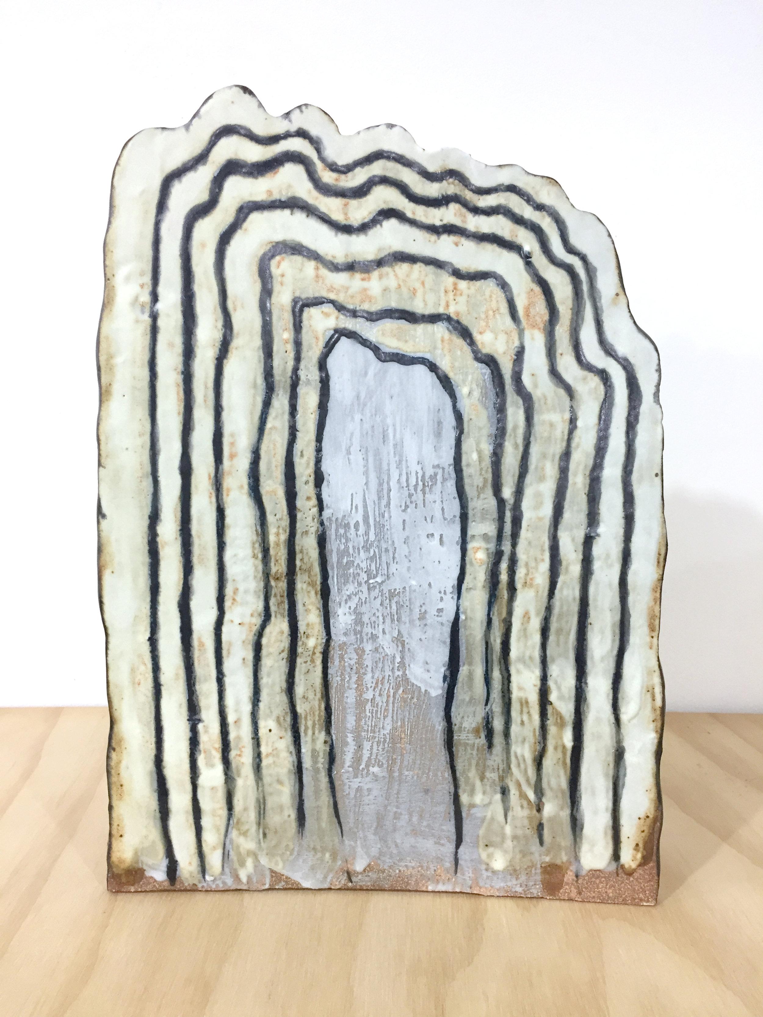 Keiko Narahashi   Untitled (Wavy White Black Lines) , 2017 Glazed stoneware 14 1/4 x 10 x 6 1/2 inches 36.2 x 25.4 x 16.5 cm
