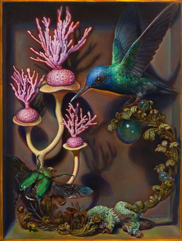 Kevin King,    Diorama with Pink Coral , 2013, Oil on copper plate, 8 1/4 x 6 1/4 inches.