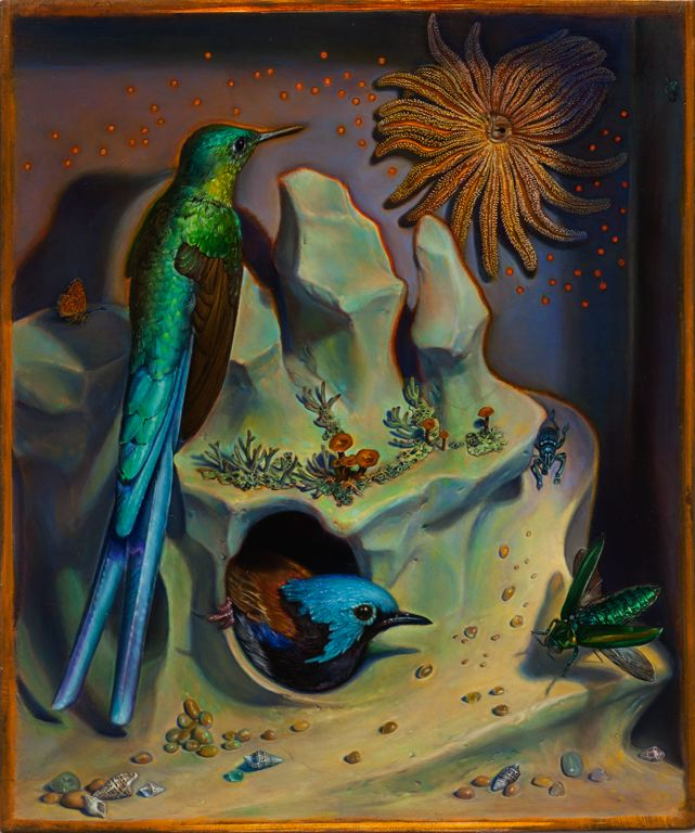 Kevin King   Diorama with Starfish , 2013 Oil on copper plate Image size: 10 1/2 x 8 3/4 inches