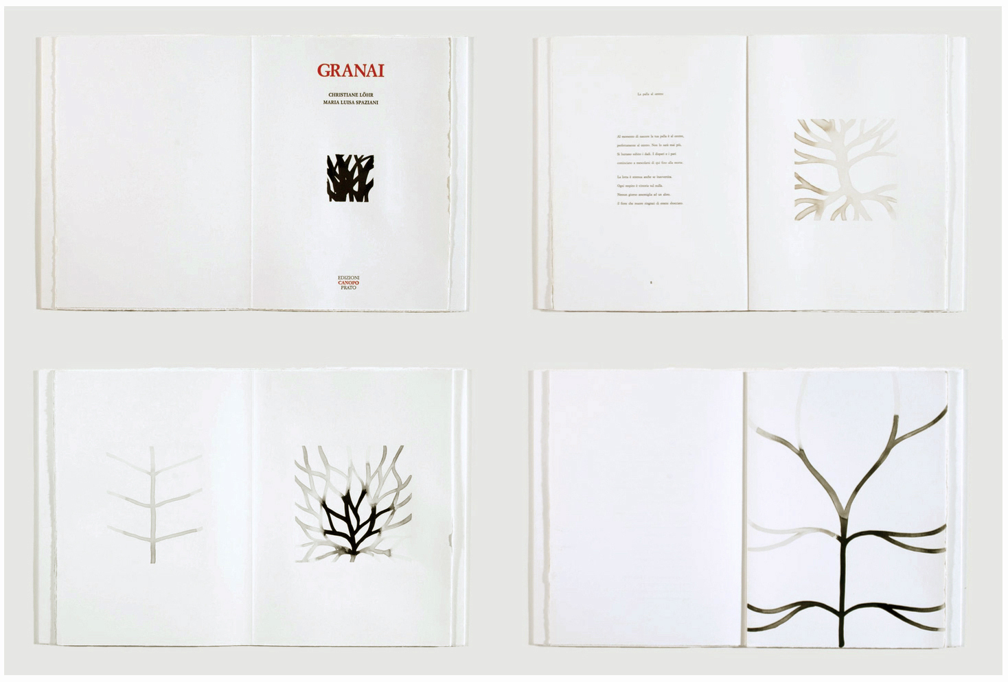 Above: Selected spreads from  GRANAI , 1999, Artist Book with unique ink drawings by Christiane Löhr and unpublished poems by Maria Luisa Spaziani, 14 x 10 1/4 inches, Edizioni Canopo, Prato.