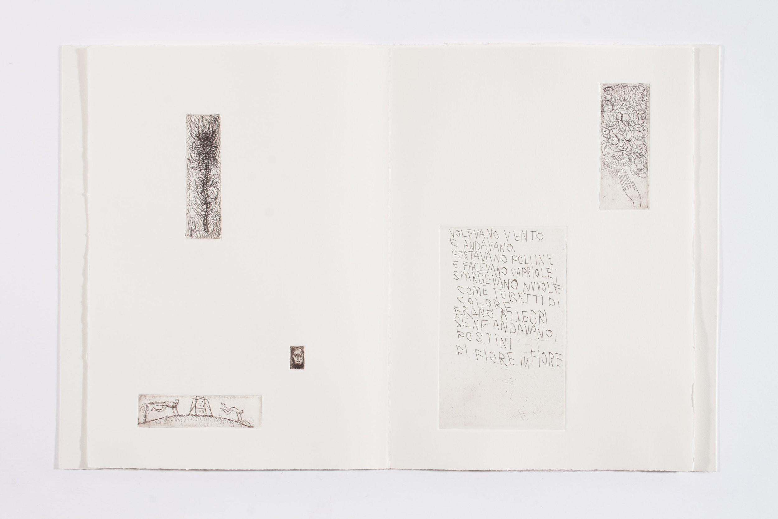 VOLEVANO VENTO Seven etchings of MIMMO PALADINO Ten unpublished poems of NICO ORENGO , 2006 Artist Book 14 x 10 1/4 inches (35.6 x 26 cm) Case: 15 1/4 x 11 1/4 x 1 3/4 inches (38.7 x 28.6 x 4.4 cm) Edition : VII/XX Edizioni Canopo Edition of 55. Numbered from 1/35 to 35/35 in Arabic numbers and I/XX to XX/XX in Roman numbers. Plus one artist proof.