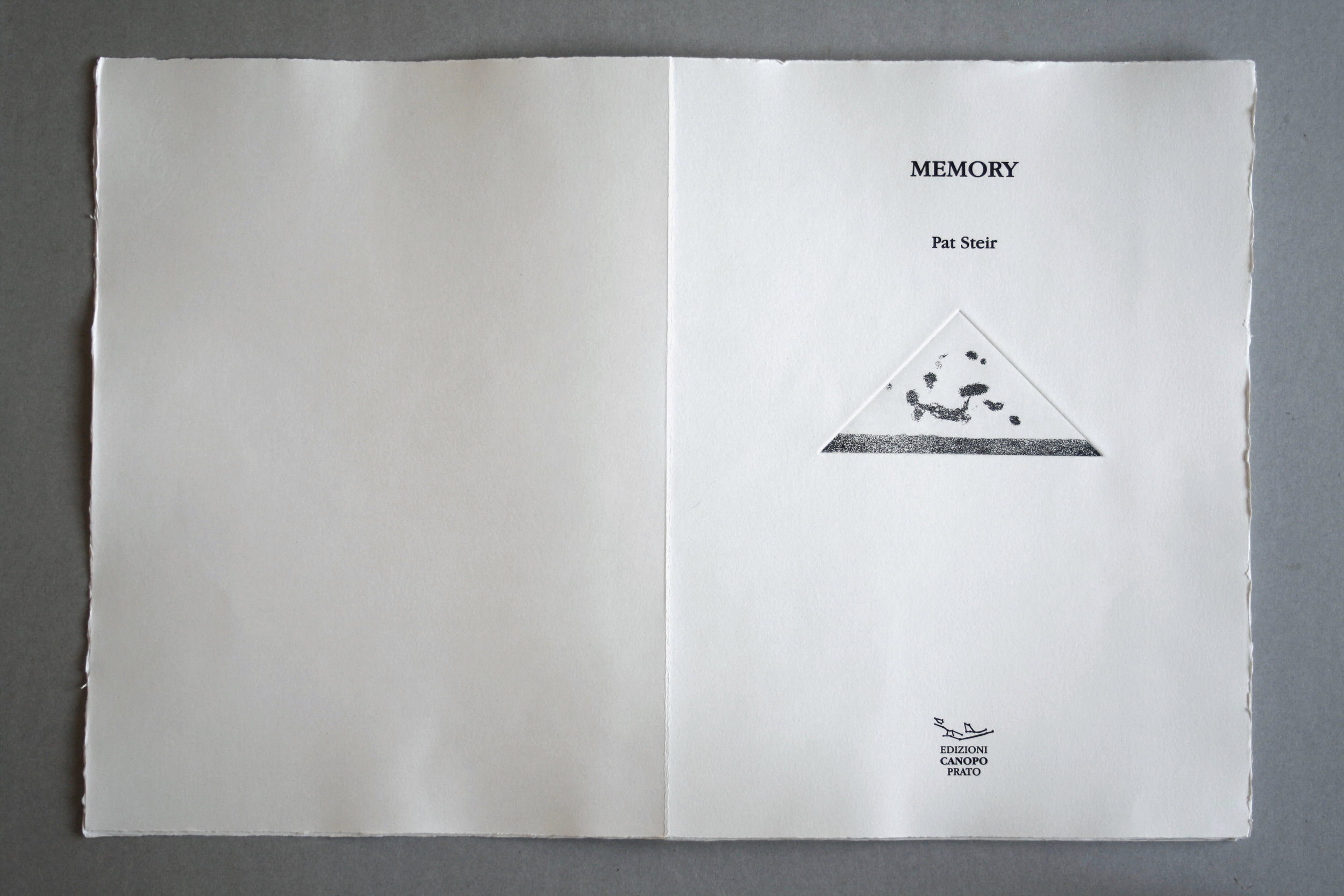 MEMORY Seventeen etchings by PAT STEIR Unpublished texts of I.P. SUKONECK , 2015 Artist Book 16 x 11 x 1/2 inches (40.6 x 27.9 x 1.3 cm) Wood case: 17 1/8 x 11 3/4 x 1 1/2 inches (43.5 x 29.8 x 3.8 cm) Edition : 44/50 Edizioni Canopo Edition of 50. Numbered from 1/50 to 50/50, 5 copies of which are ad personam. Plus one artist proof.