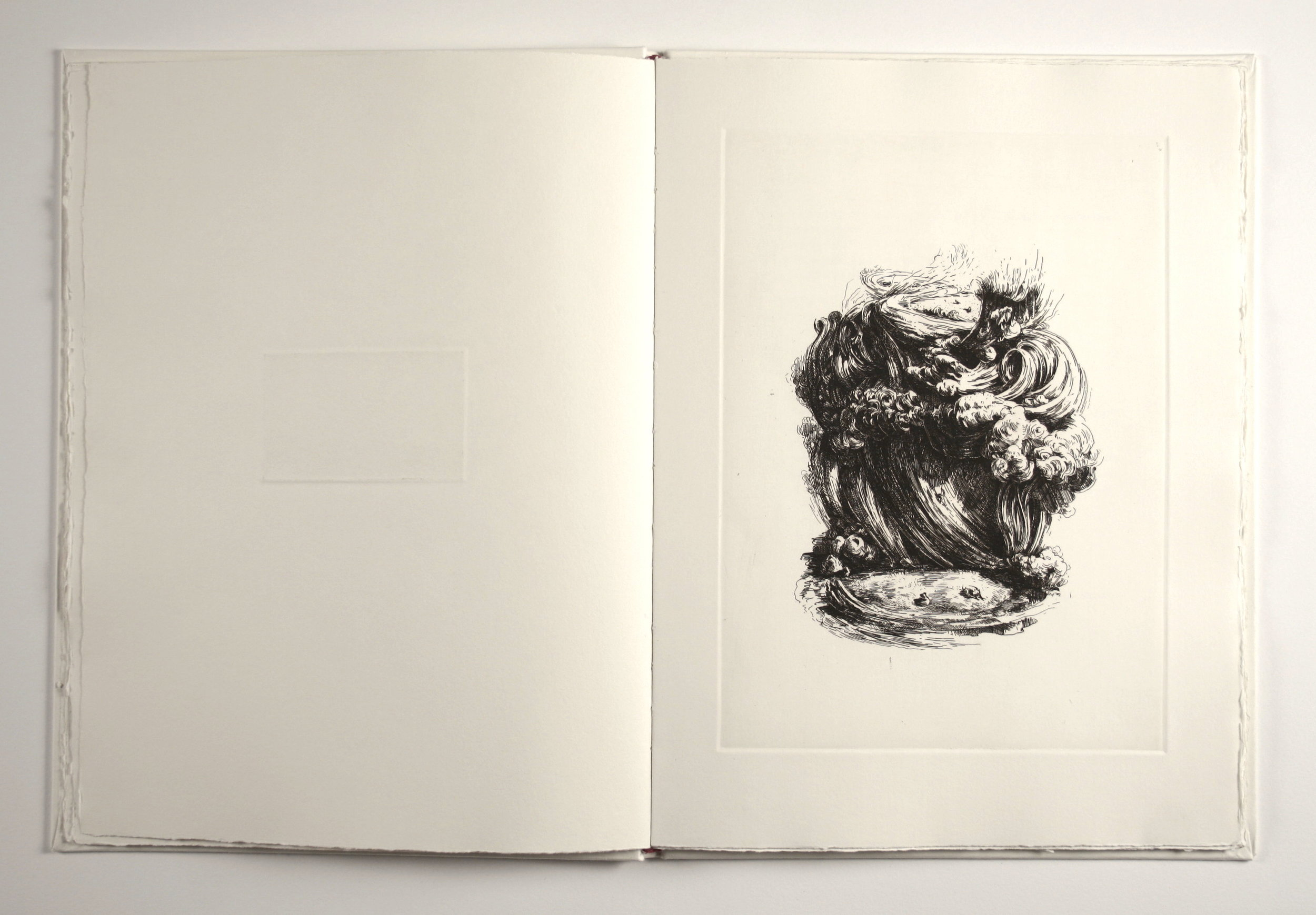 BOOK OF STORIES Eleven etchings of TINUS VERMEERSCH One unpublished narration of RODERIK SIX , 2013 Artist Book 16 x 11 x 1/2 inches (40.6 x 27.9 x 1.3 cm) Wood case: 17 1/8 x 11 3/4 x 1 1/2 inches (43.5 x 29.8 x 3.8 cm) Edition : 43/50 Edizioni Canopo Edition of 50. Numbered from 1/50 to 50/50, 5 copies of which are ad personam. Plus one artist proof.