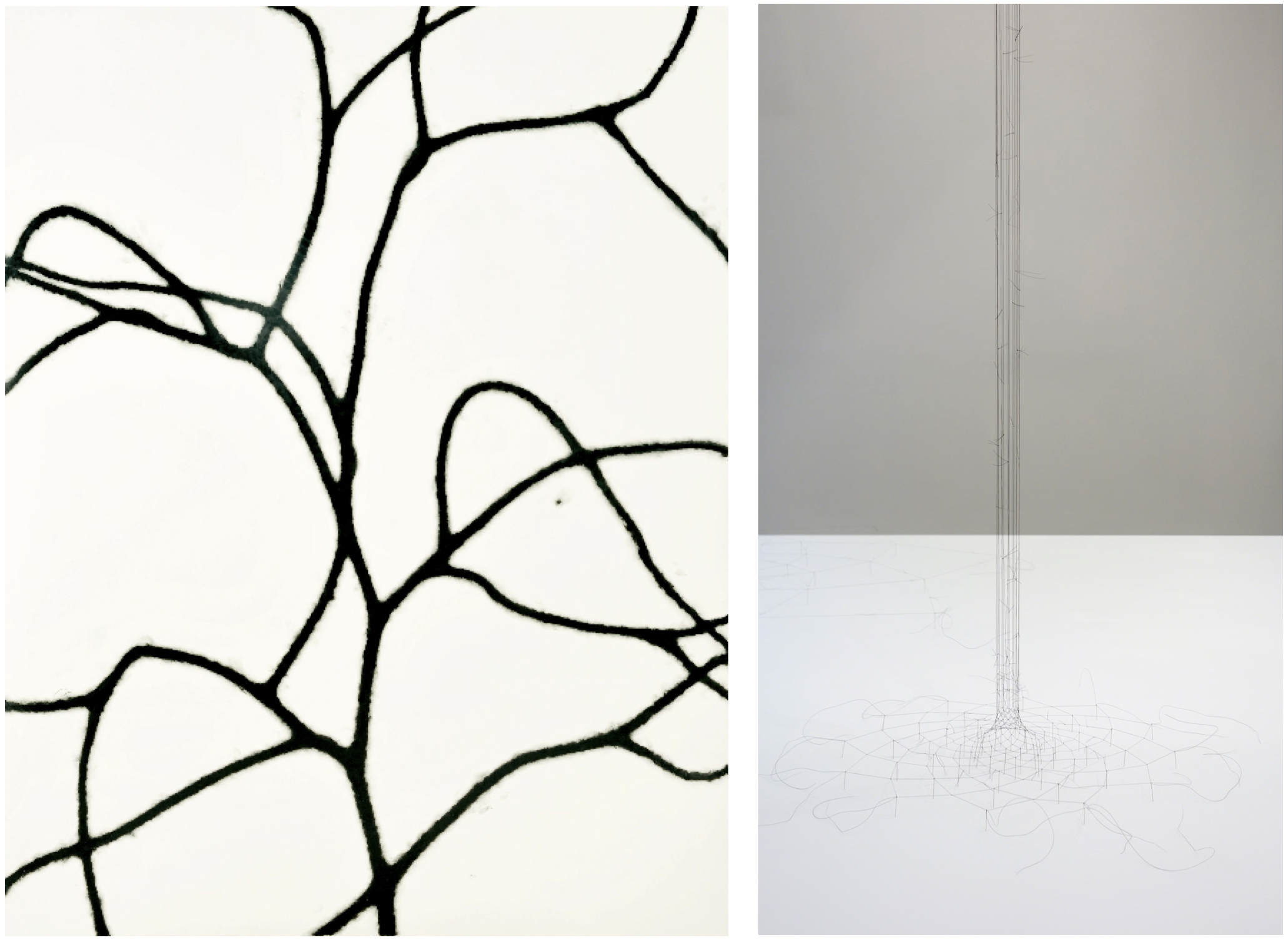 Left: Christiane Löhr,  Untitled (21) , 2012, Oil pastel on paper, 58 1/4 x 47 1/4 inches (148 x 120 cm) Right: Christiane Löhr,  Endless Column (Heptagon) , 2015, Horsehair, needles, 20 1/2 x 20 1/2 x 102 1/2 inches (52 x 52 x 260 cm)