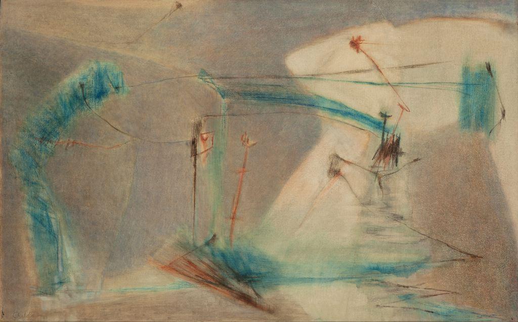 Bernard Childs  (1910-1985)  Entre Deux , 1953 Oil on linen 32.5 x 51.75 inches 82.6 x 131.4 cm