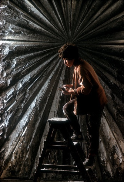 "Burt Glinn (1925-2008)   USA. San Francisco, California. Painter Jay DeFeo with her monumental famous painting called ""The Rose."" , 1960 Available in the following sizes: 11 x 14 inches; 16 x 20 inches; 20 x 24 inches Pigment print. Open edition, estate stamped"