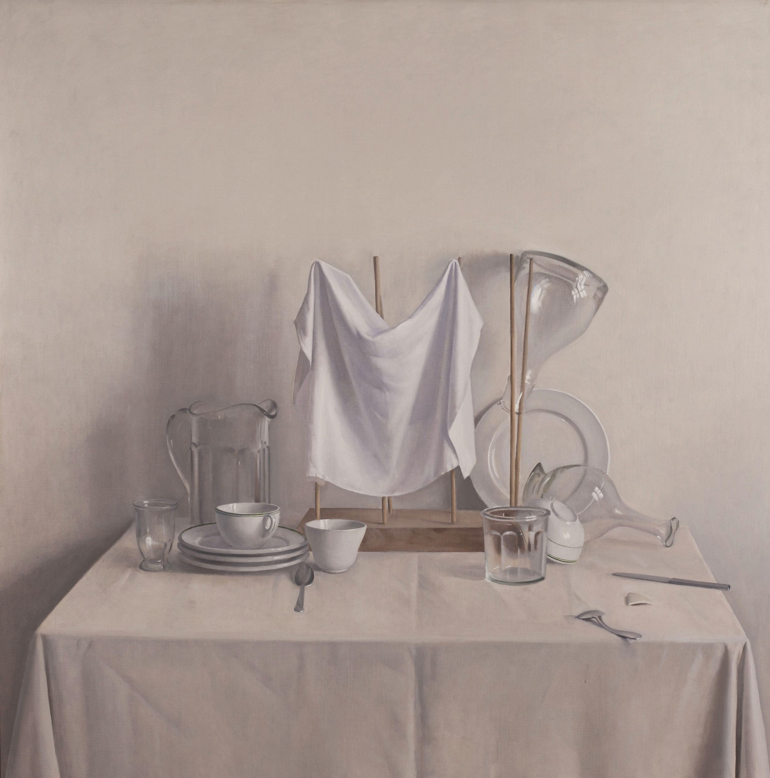 Raymond Han  (1931-2017)  Drying Rack with Napkin and Decanter , 1986 Oil on canvas Work size: 52 x 52 inches 132.1 x 132.1 cm