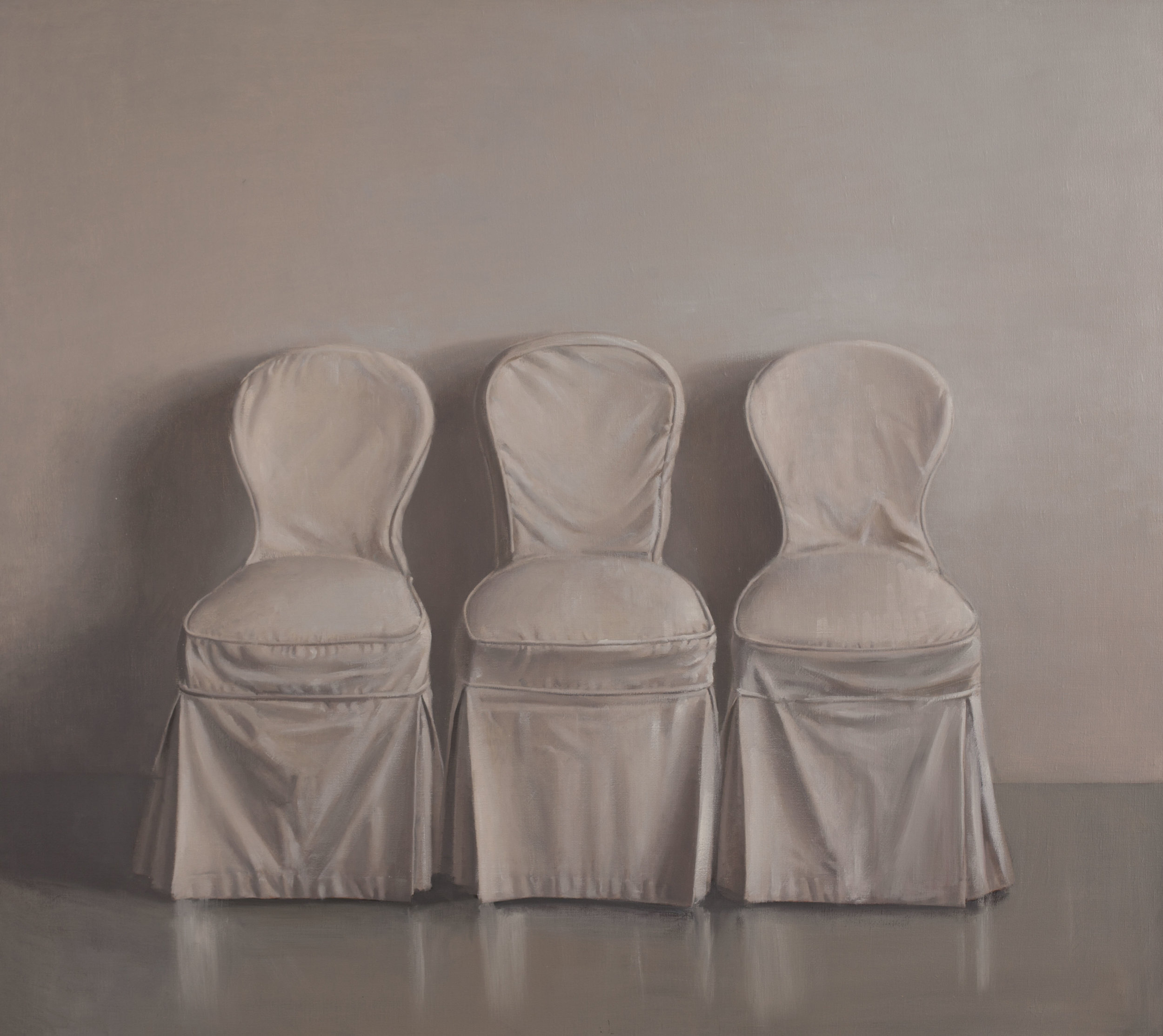Raymond Han  (1931-2017)  Three Chairs , 1982 Oil on linen 48 x 54 inches 121.9 x 137.2 cm