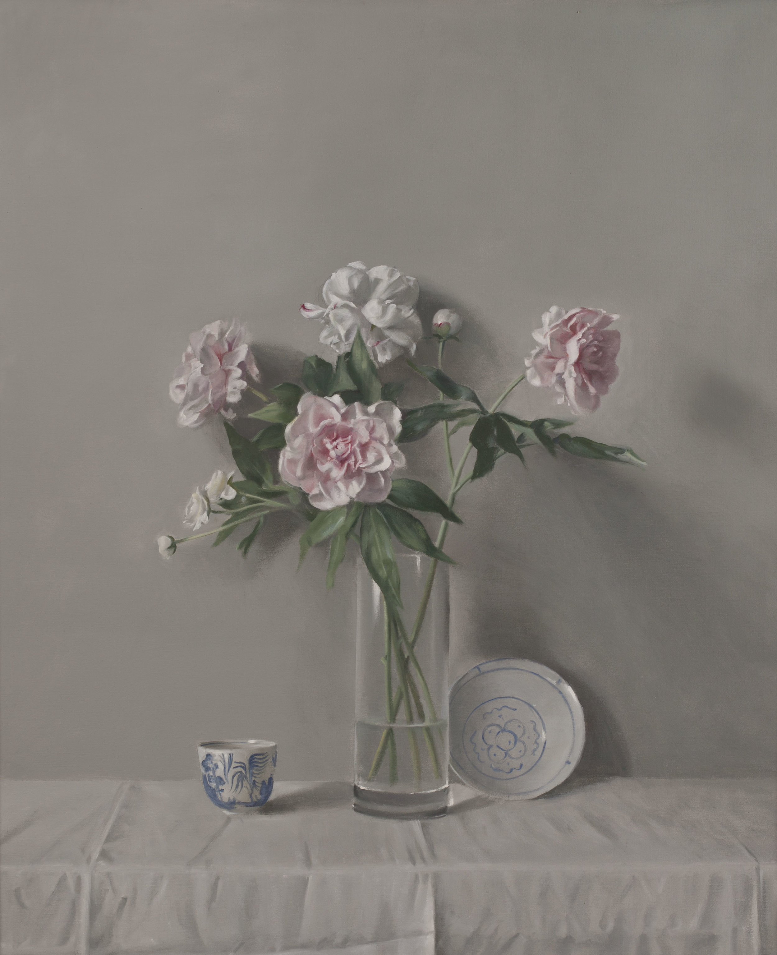 Raymond Han  (1931-2017)  Peonies with Blue and White China , 2004 Oil on linen 48 x 40 inches 121.9 x 101.6 cm
