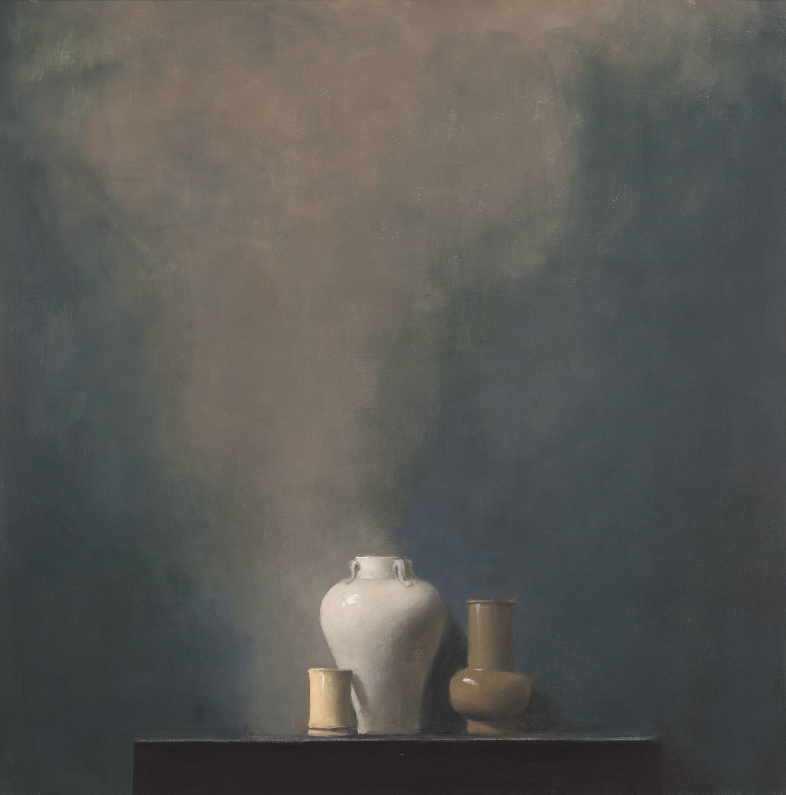 Raymond Han  (1931-2017)  Untitled (Studio Still Life Blue, blueish wall, three small vases) , Undated Oil on linen 54 x 54 inches 137.2 x 137.2 cm