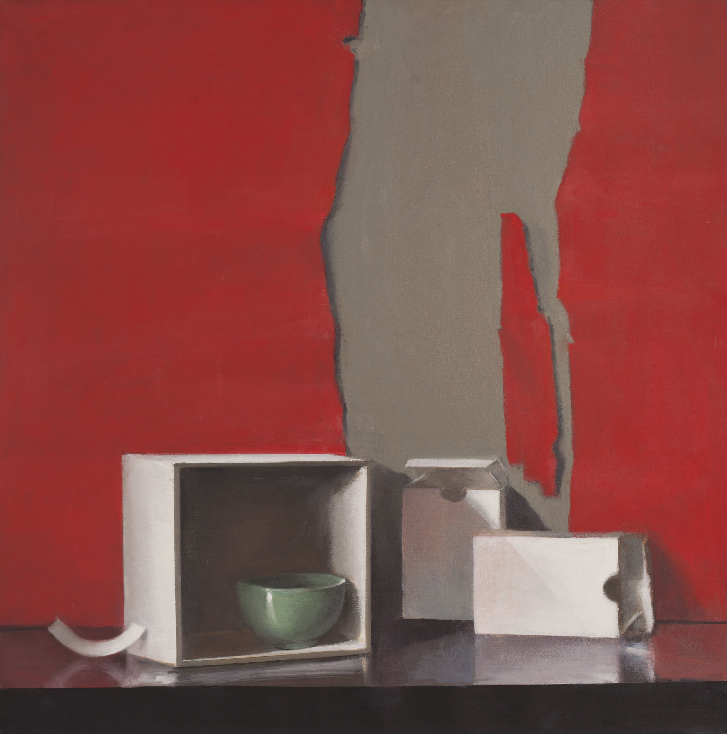 Raymond Han  (1931-2017)  Untitled (Still life, ripped red paper, green bowl, white box) Undated  Oil on linen 40 x 40 inches 101.6 x 101.6 cm