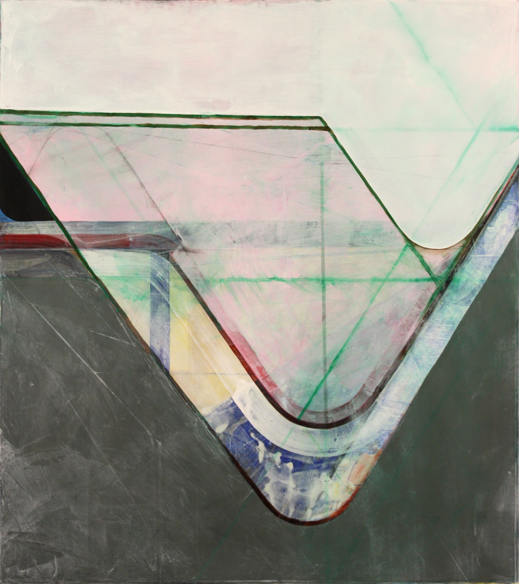 Nick Lamia, Cross-section,  2017, acrylic on paper, 50 x 45 inches