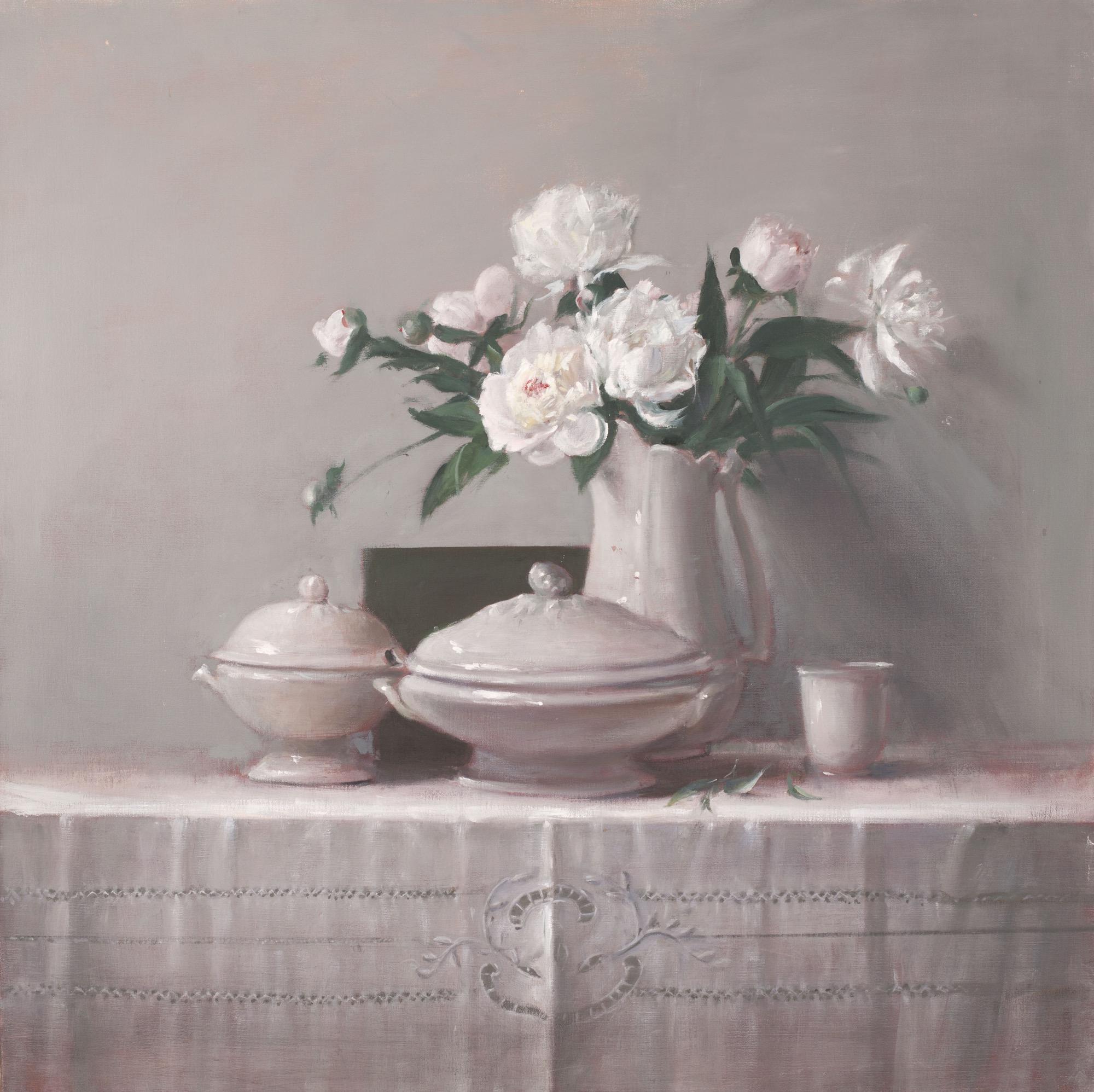 Raymond Han,  Peonies on Cut Clothwork , 2006, Oil on linen, 42 x 42 inches