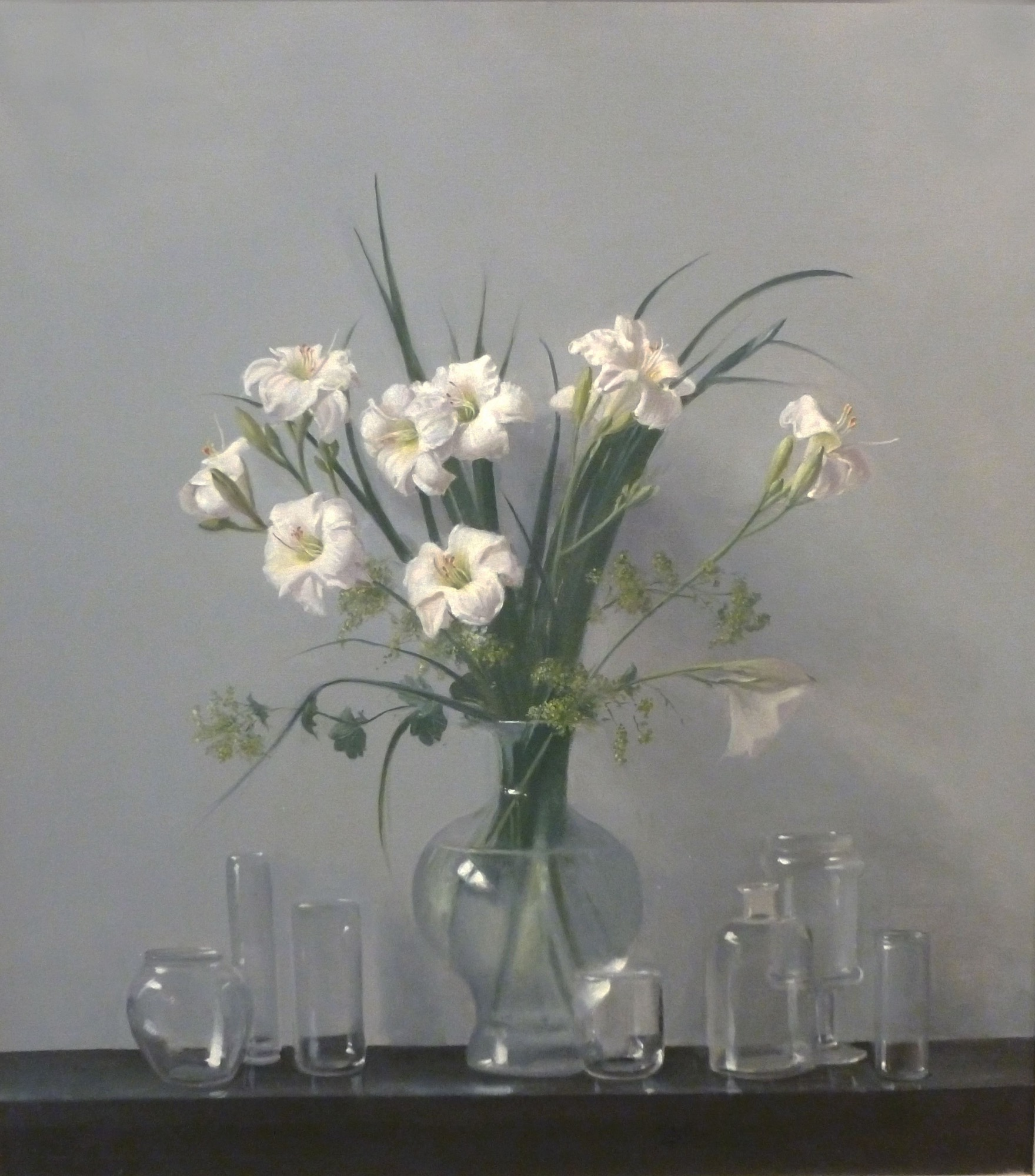 Raymond Han    Lilies with Reflective Glass Jars , 2009  Oil on canvas  44 x 40 inches  111.8 x 101.6 cm