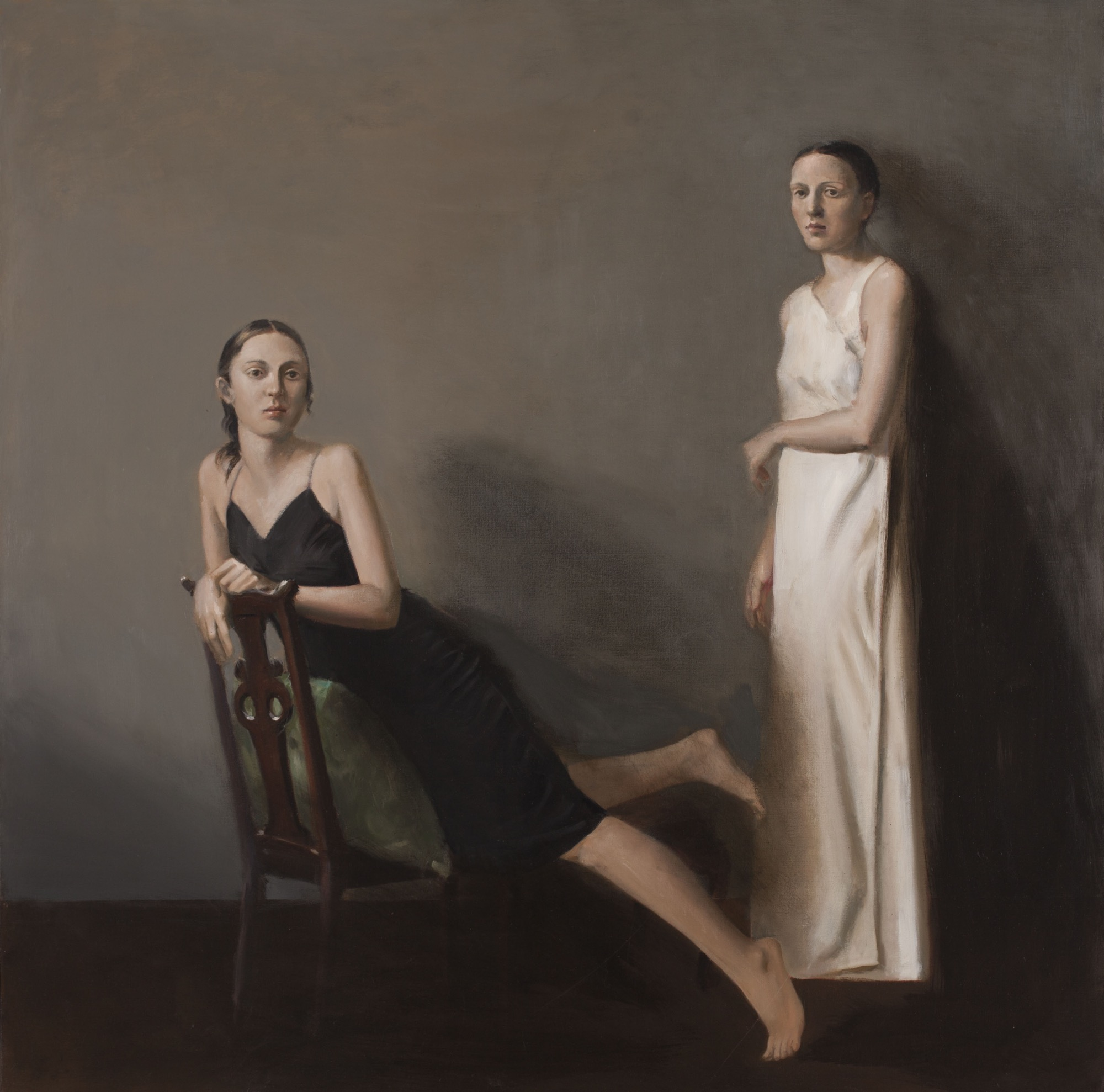 Raymond Han    Two Sisters , 2002  Oil on linen  54 x 54 inches  137.2 x 137.2 cm