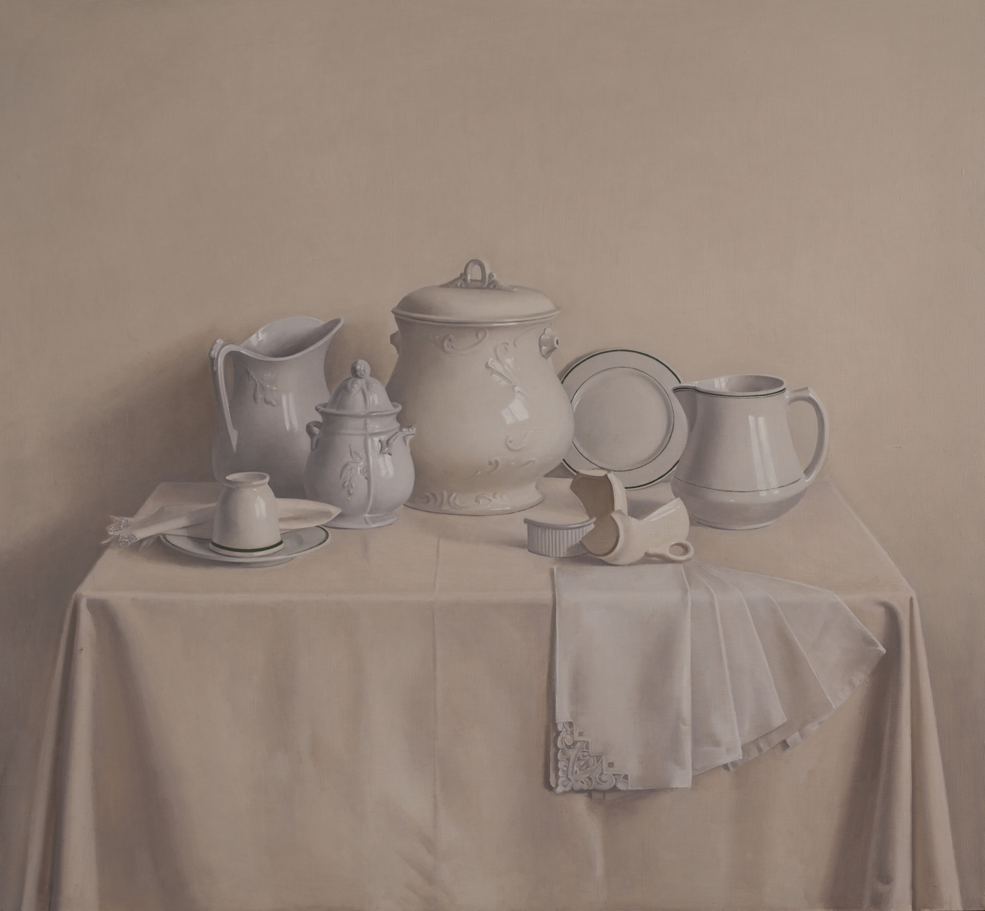 Raymond Han    Untitled [Still Life with Broken Vase and Hanging Napkins] , 1983  Oil on linen  48 x 52 inches  121.9 x 132.1 cm