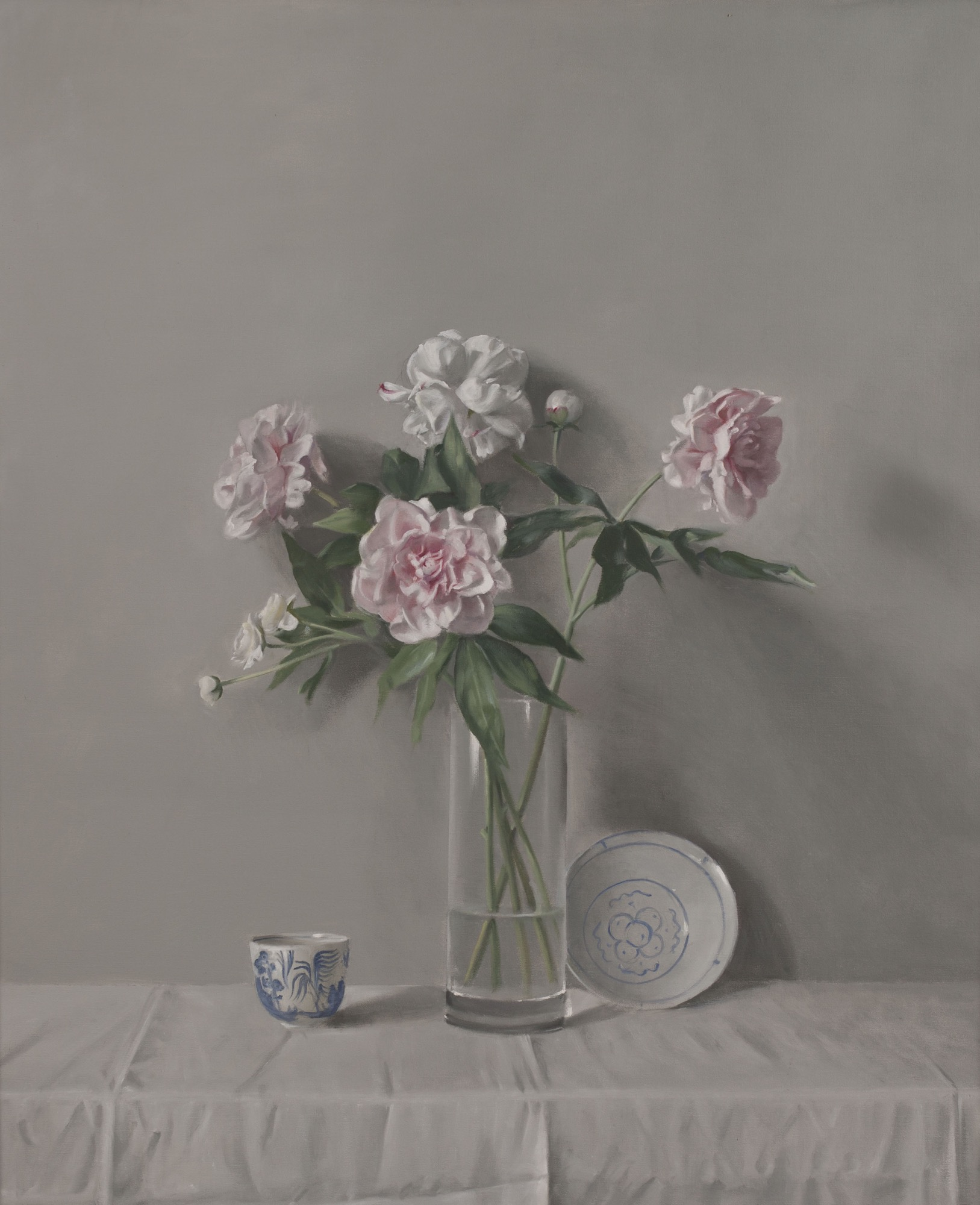 Raymond Han    Peonies with Blue and White China , 2004  Oil on linen  48 x 40 inches  121.9 x 101.6 cm