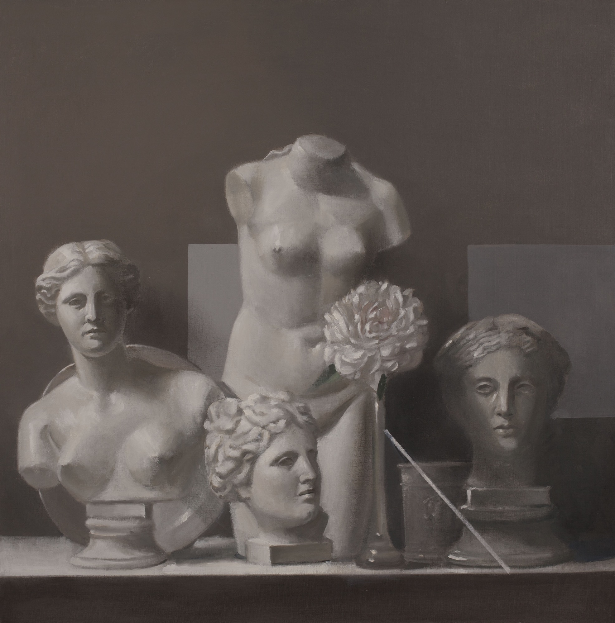 Raymond Han    Plaster Torso With Heads   Oil on linen  40 x 40 inches  101.6 x 101.6 cm