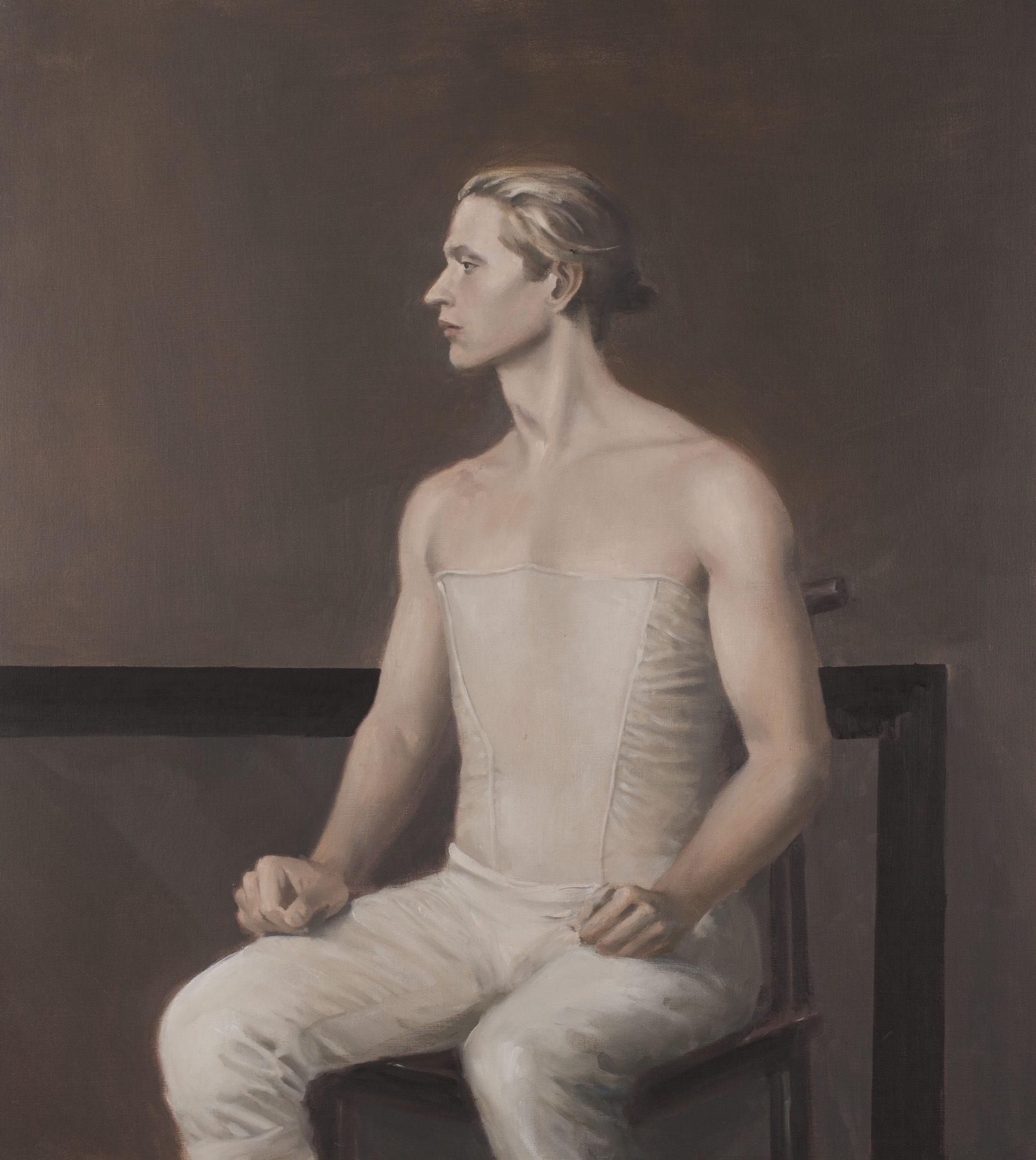 Raymond Han    Portrait of Christopher Schaldenbrand in costume , 2001  Oil on canvas  40 x 36 inches  101.6 x 91.4 cm