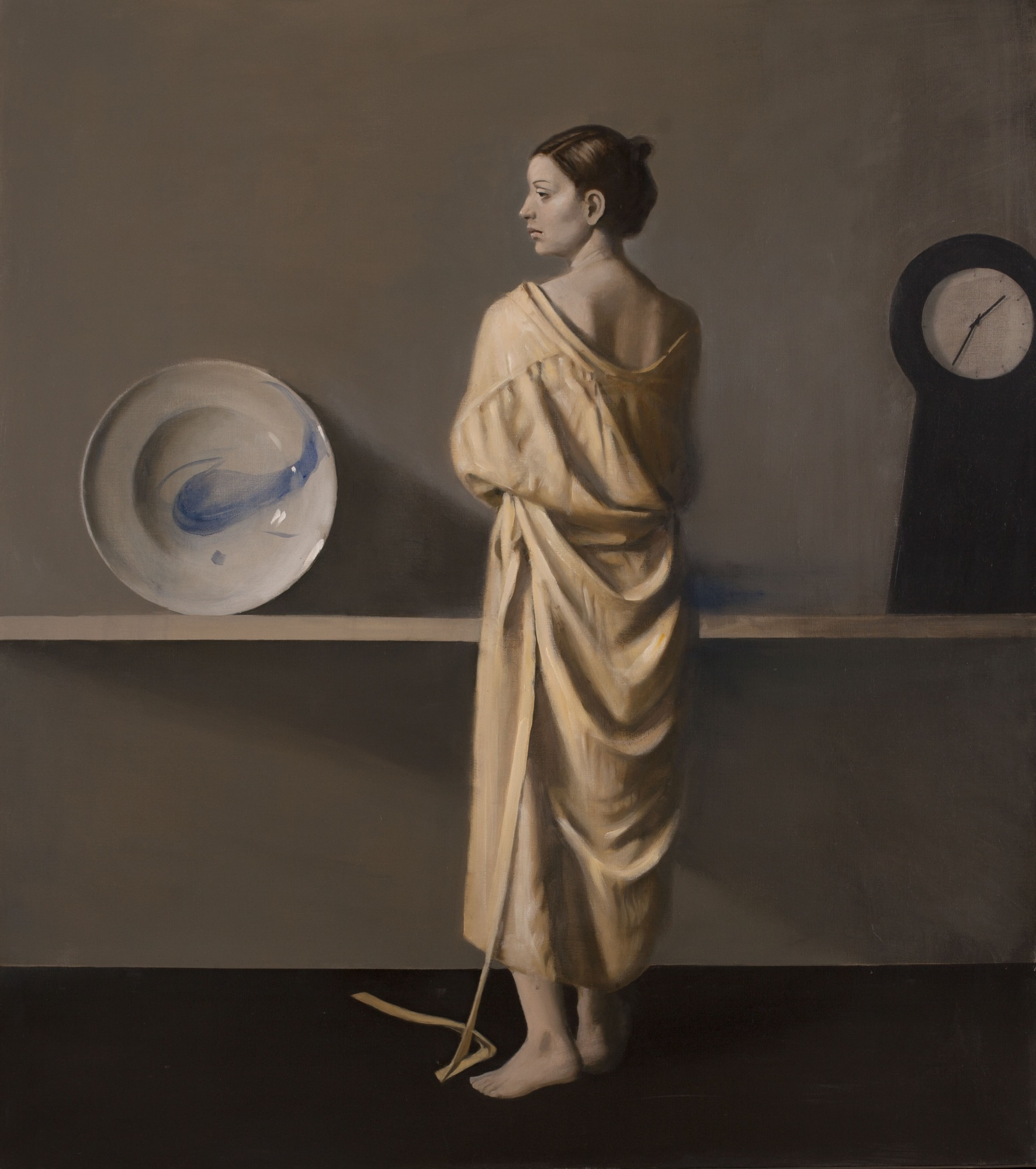 Raymond Han    Robed Woman in Profile , 2002  Oil on linen  54 x 48 inches  137.2 x 121.9 cm