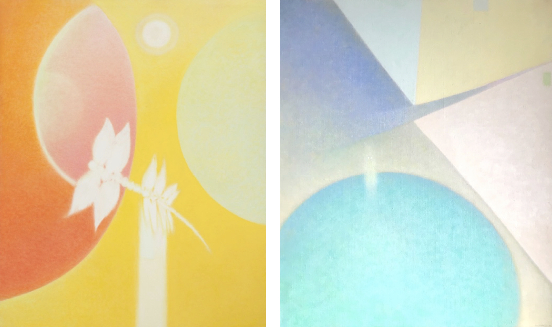 Left:  Outrider , 1972, Oil on linen, 62 x 51 inches. Right:  The Visitor , 1977, Oil on linen, 21 5/8 x 18 1/4 inches.