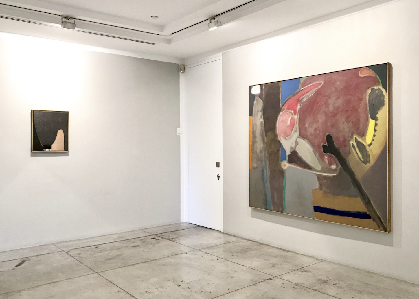 Installation View, Right: Stephen Greene (1917-1999),  Vigil,  1962, Oil on canvas, 68 x 80 inches Left: Bernard Childs (1910-1985),  Carmen , 1962, Oil, carborundum and graphite on canvas, 21 3/4 x 18 1/4 inches