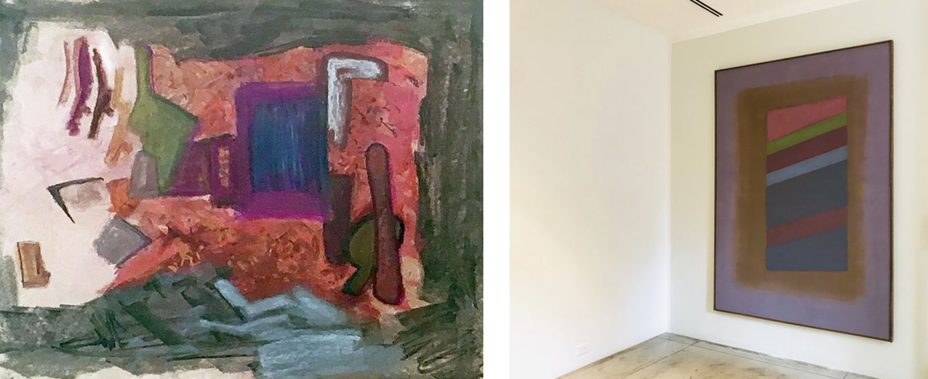 Left: Frederick Kiesler (1890-1965),  A Conceptual Drawing for the Environment , 1962, Paint and pastel on paper, 22 14 x 28 inches Right: Installation view, Charles Pollock (1902-1988),  NY15 , Acrylic on canvas, 85 x 61 inches.
