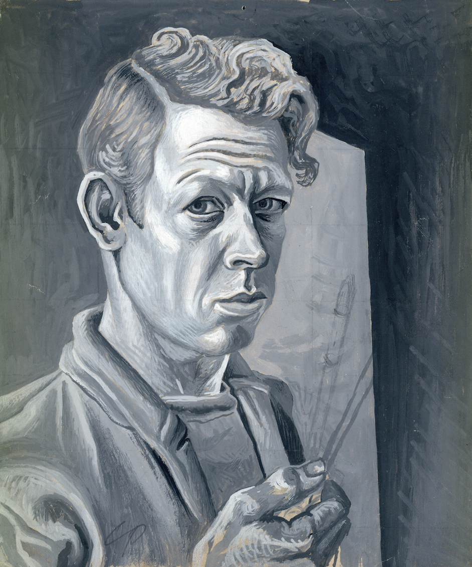 Charles Pollock (1902-1988),  Self-Portrait , 1930s, Pencil and gouache on tan paper, 9 1/2 x 7 7/8 inches.