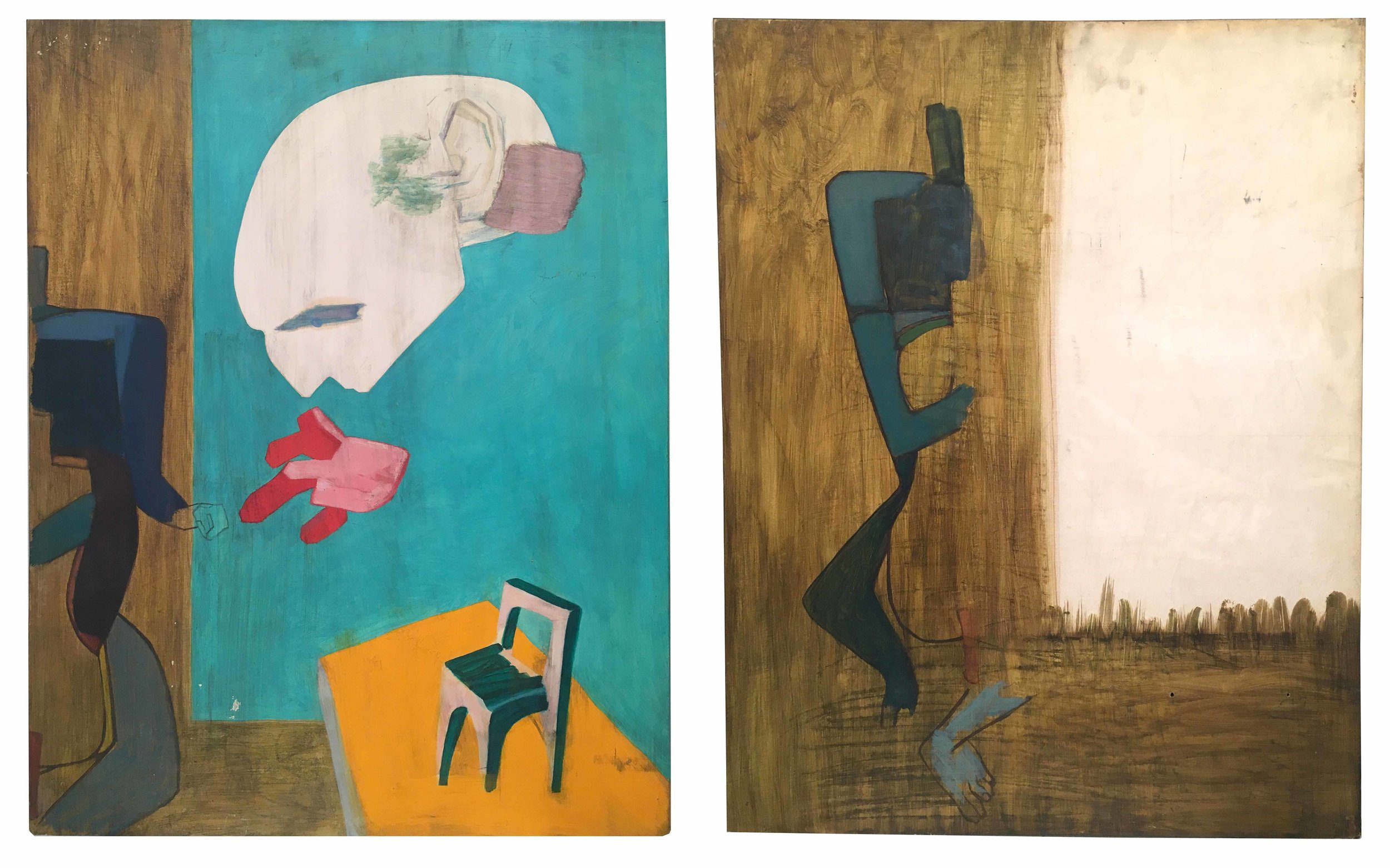 Frederick Kiesler  (1890-1965)  Portrait Galaxy of Charcot , 1949 Tempera and oil on paper mounted on wood Two panels mounted together in one frame: Panel A: 28 9/16 x 22 7/16 inches (72.5 x 57 cm) Panel B: 28 1/2 x 22 7/16 inches (72.4 x 57 cm) Collection of The Estate of Frederick Kiesler, New York