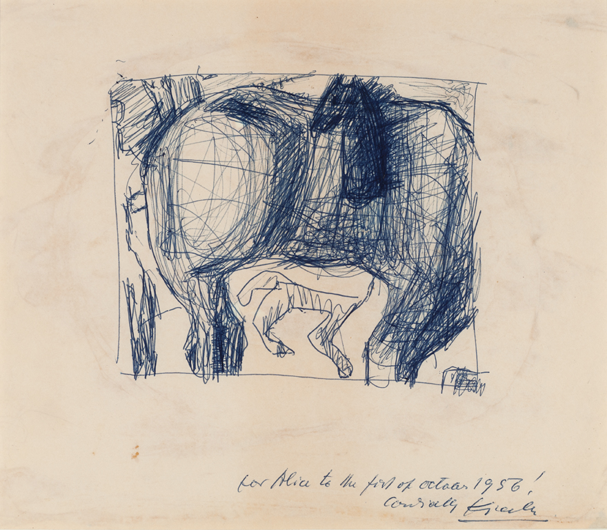 Frederick Kiesler  (1890-1965)  Untitled (Bucephalus) , 1956 Pen on paper Image size: 18 1/2 x 11 inches (47 x 27.9 cm)