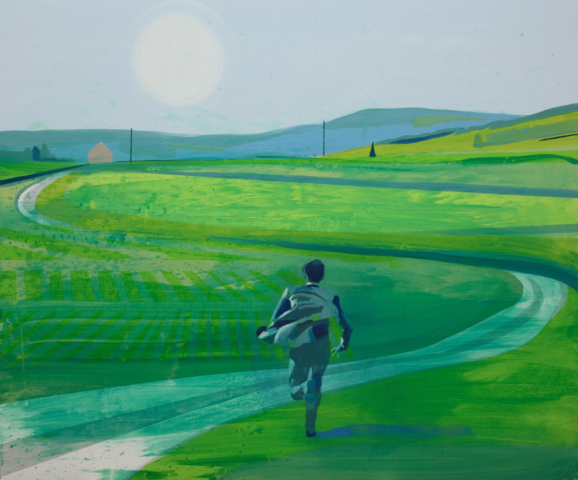 Kenneth Blom  (B. 1967)  Blue Field , 2018 Oil on canvas 39 2/5 x 47 1/5 inches 100 x 120 cm
