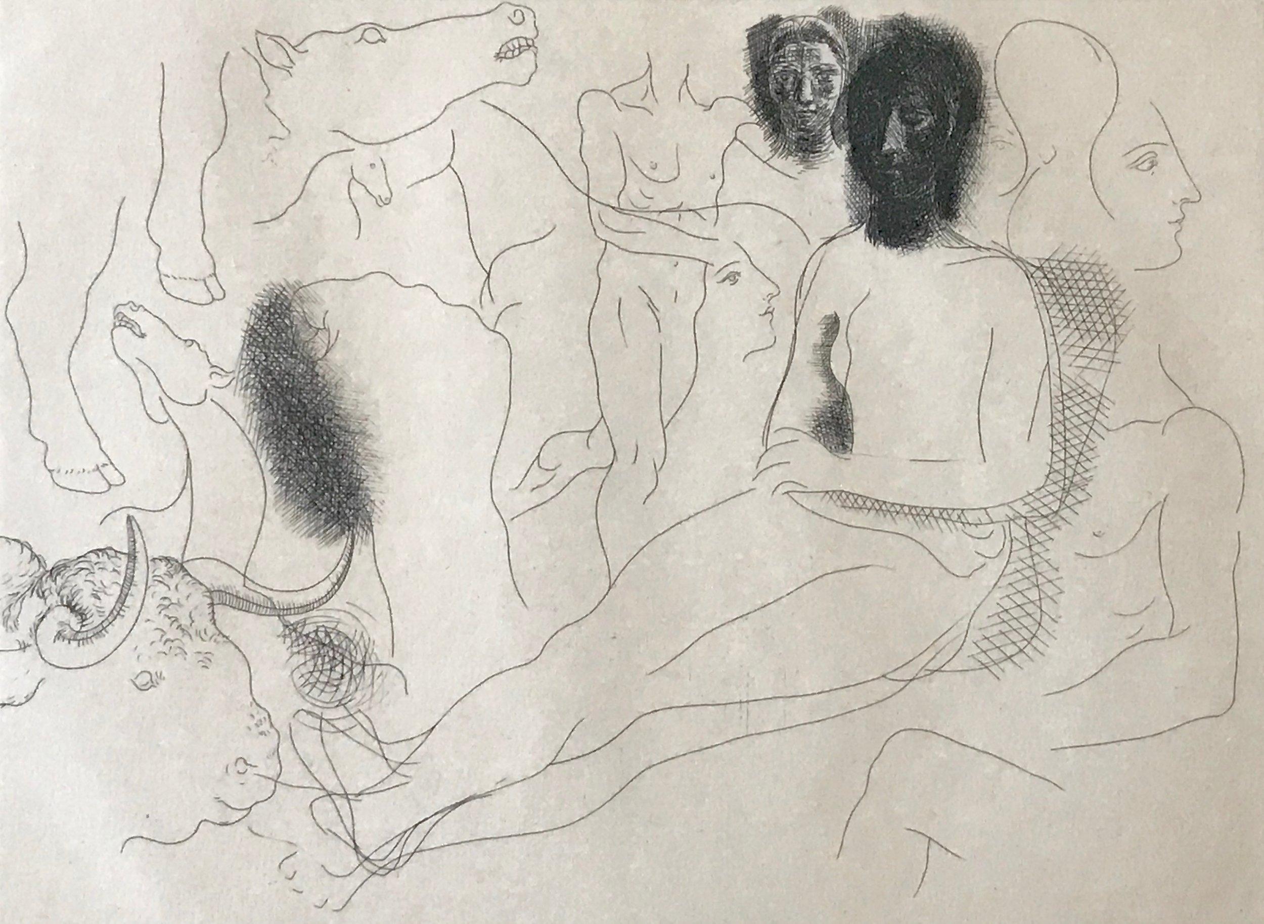 Pablo Picasso ,  Nu assis entouré d'esquisses de bêtes et d'hommes, pl. 10, from Le Chef-d Œuvre Inconnu , 1927, Etching on Van Gelder paper, 7 1/2 x 10 4/5 inches, 19 x 27.5 cm.