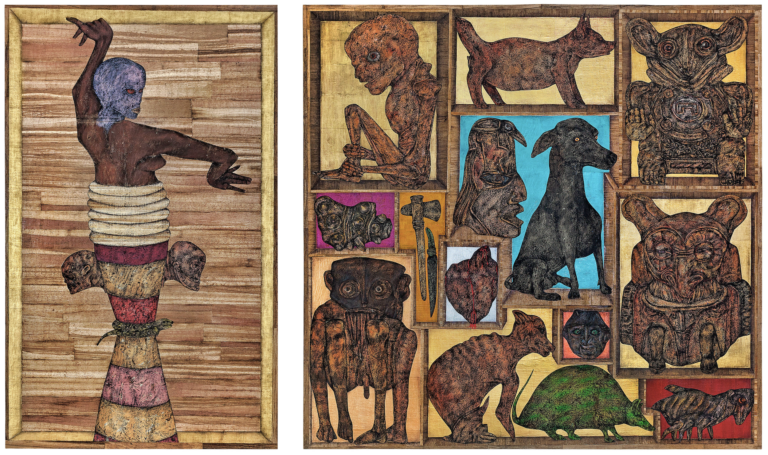 Carlos Fragoso  (B. 1954)  Retablo , 2017 Acrylic, oil, charcoal, metal leaf, papyrus and collage on paper Diptych: Left Panel: 72 x 38 inches Right panel: 72 x 72 inches Overall: 72 x 110 inches