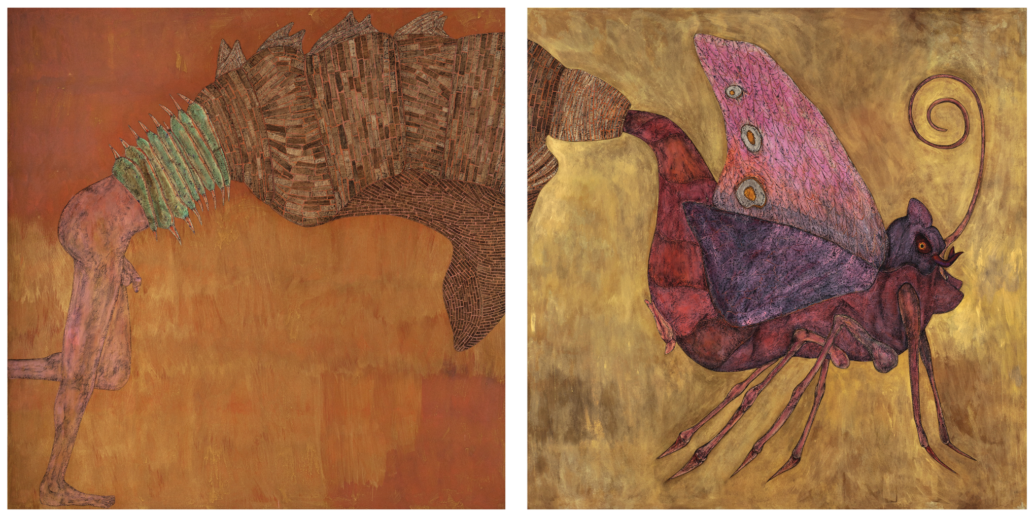 Carlos Fragoso  (B. 1954)  The Metamorphosis , 2014 Acrylic, oil, charcoal, papyrus and collage on paper Diptych: Each panel: 72 x 72 inches Overall: 72 x 144 inches