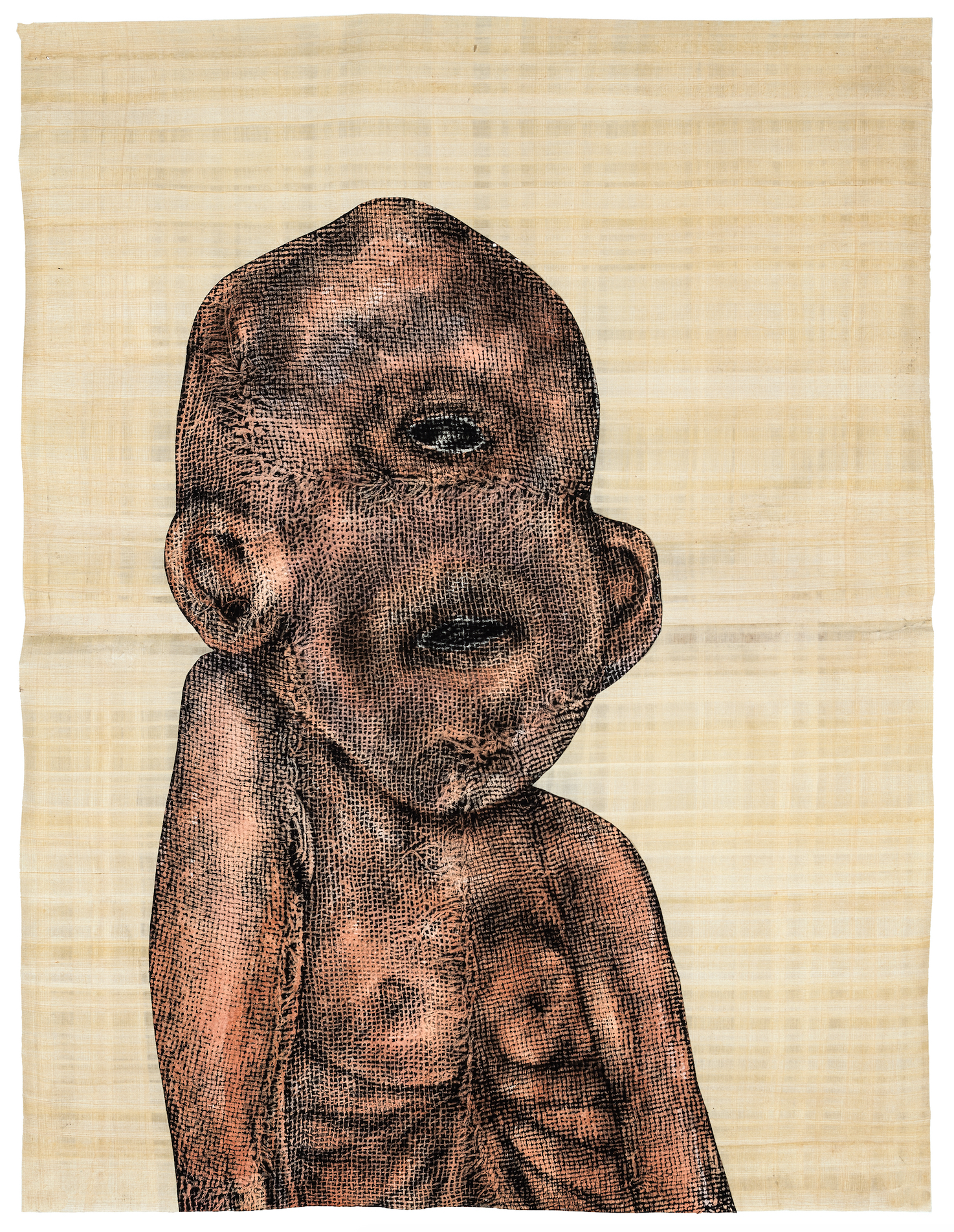 Carlos Fragoso  (B. 1954)  Baby Cyclops , 2016 Acrylic, charcoal and collage on paper and papyrus 28 x 21 inches