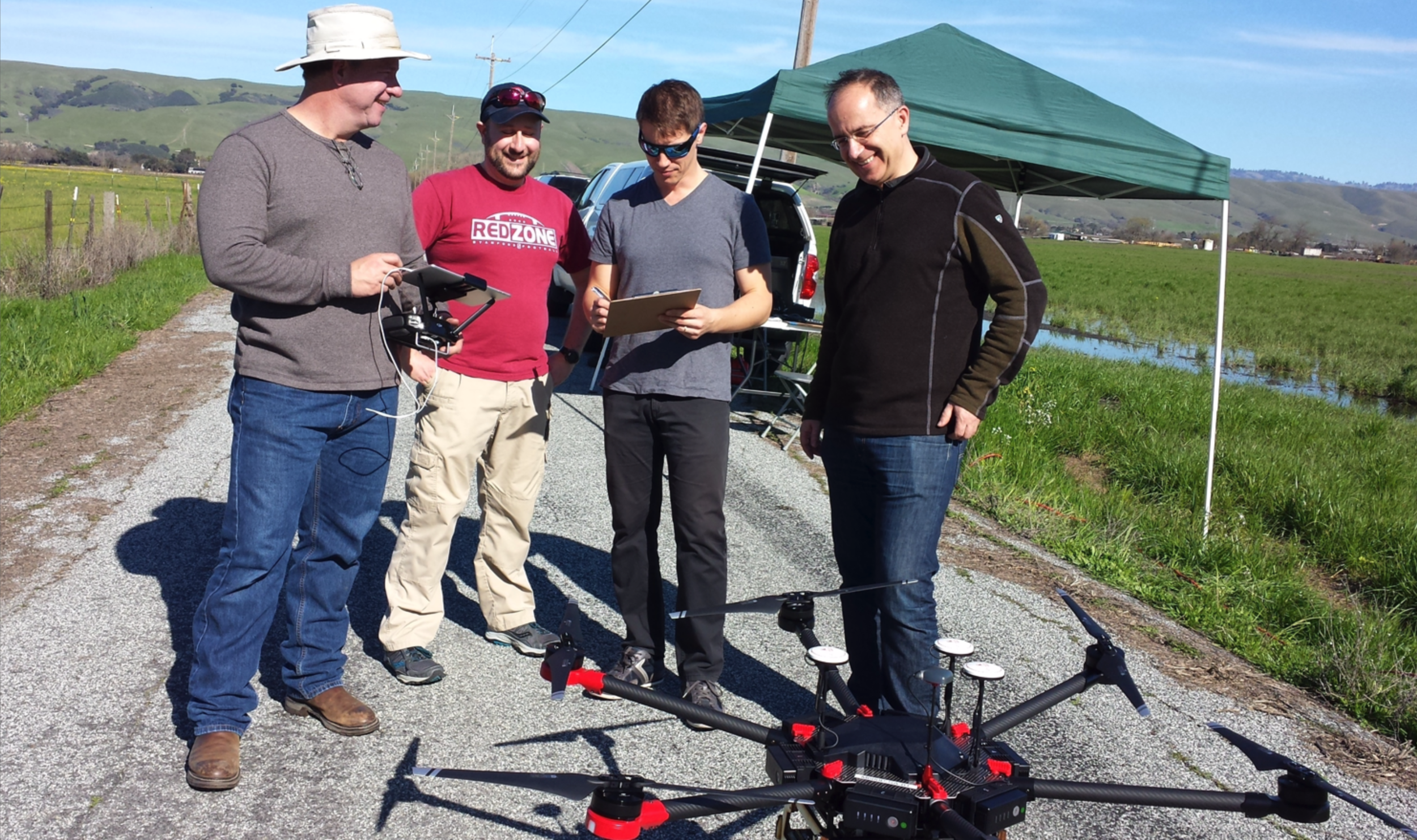 Figure 1: Team preparing for a data collection flight.