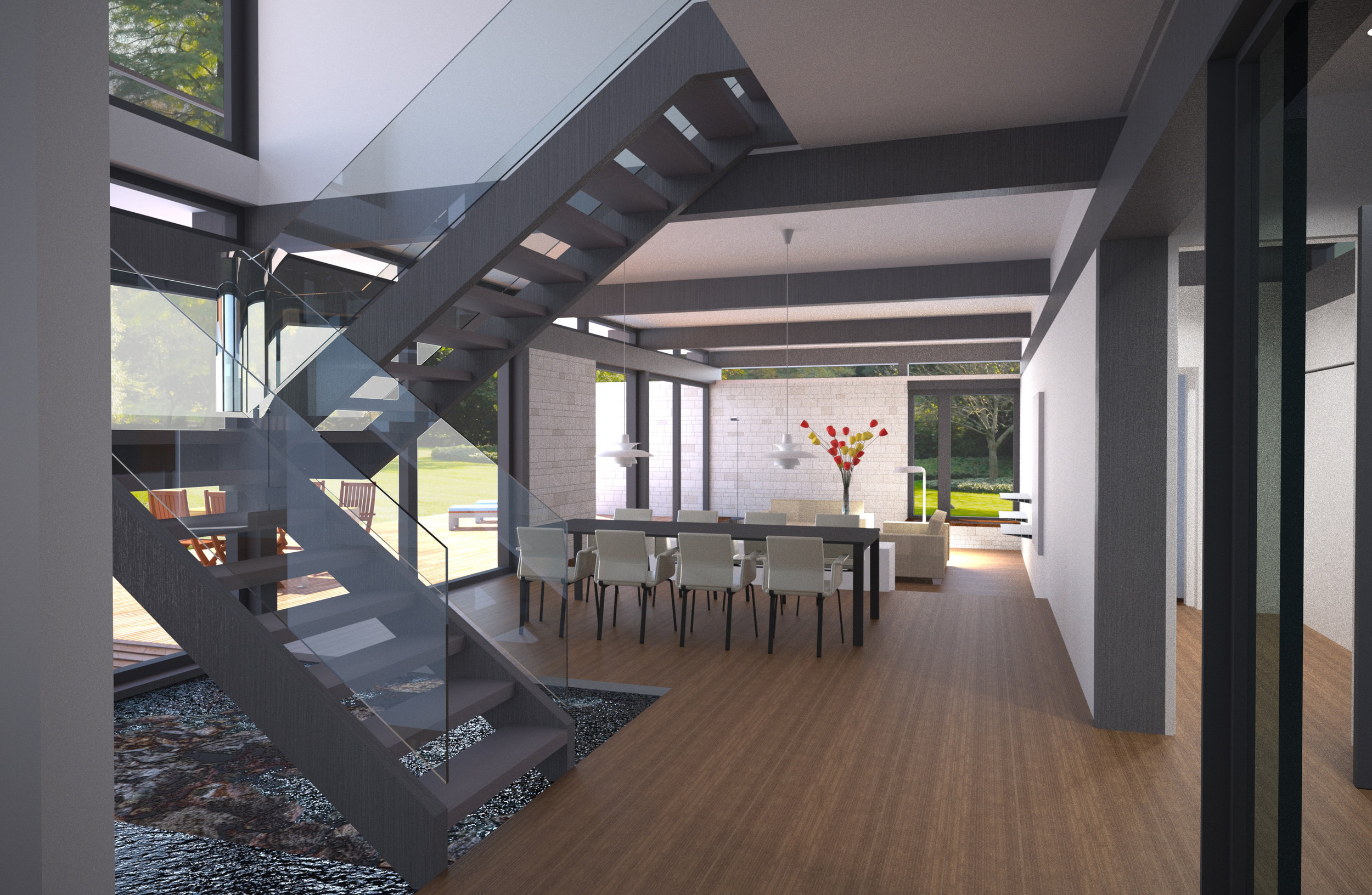 Double height space with glass and metal stairway