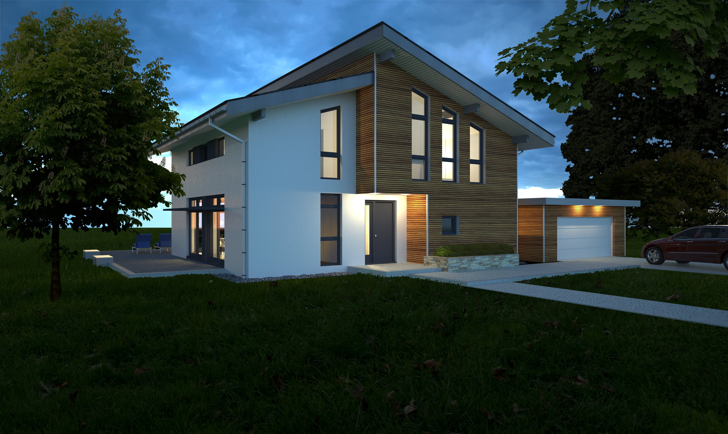 Street-side view of modern chalet-style home.