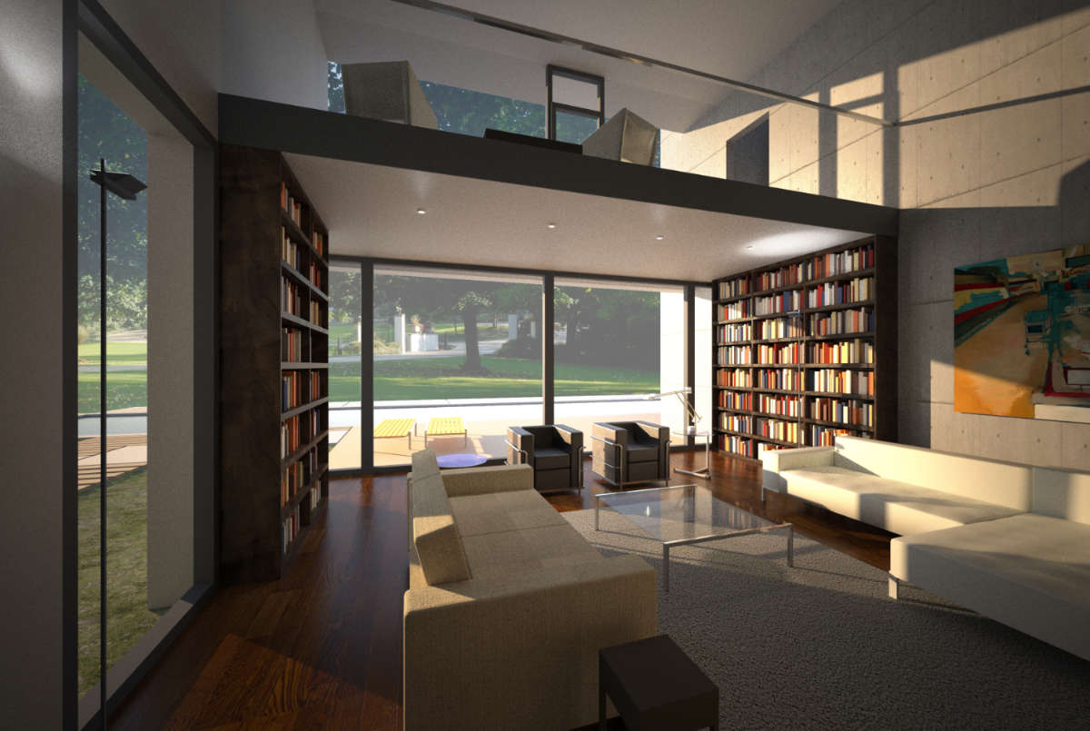 Double height living space with gallery and bookcases