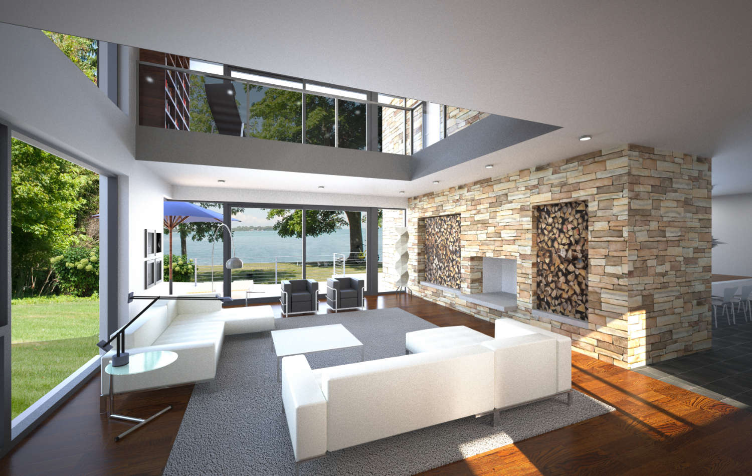 Double height living area with stone fireplace