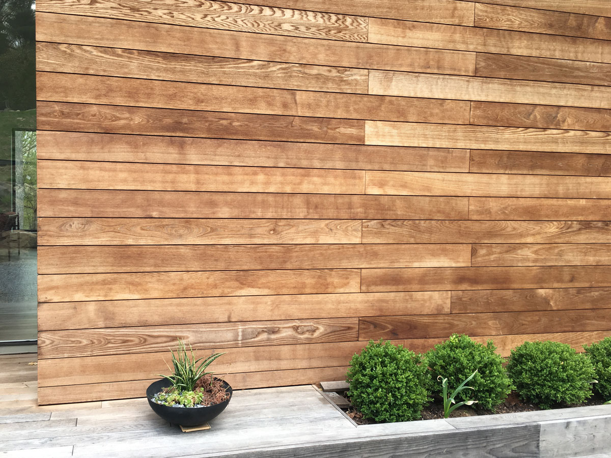 Exterior wood siding with boxwoods.