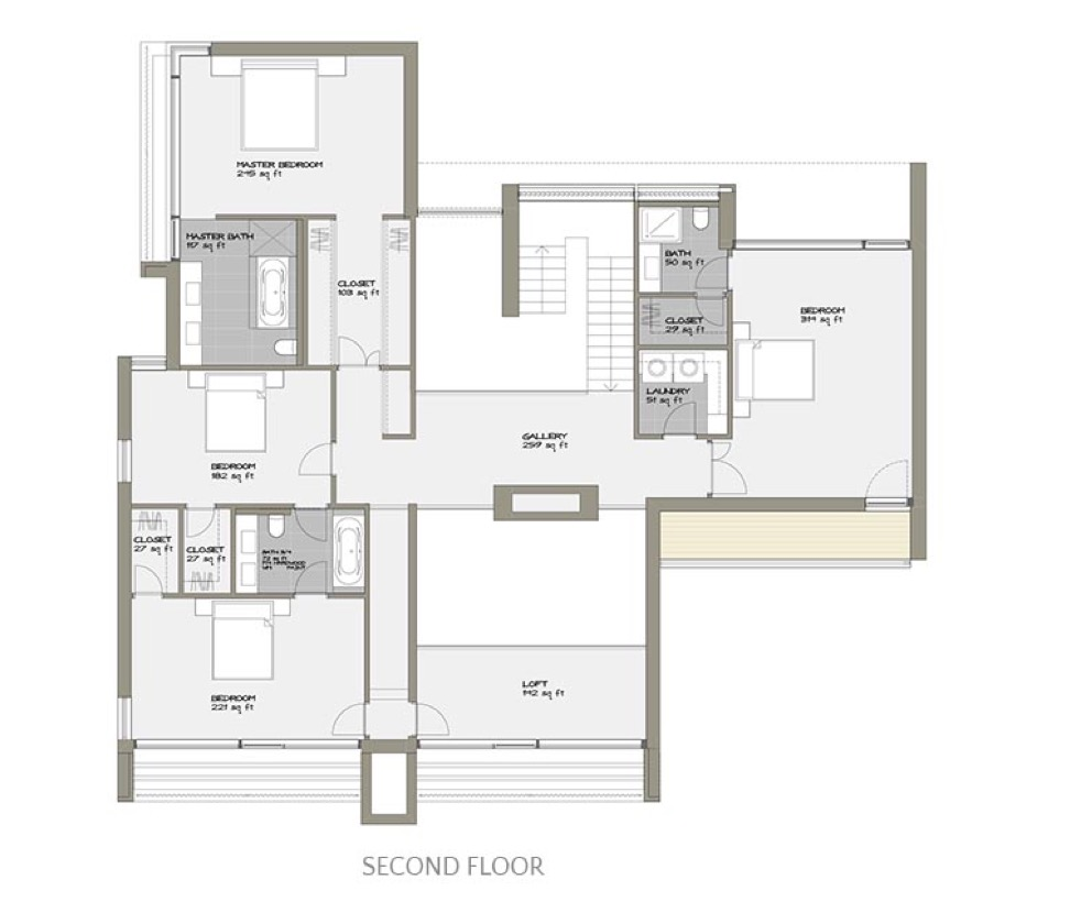 - Special Features✓ Triple-pane floor-to-ceiling glazing✓ Optional integral two-car garage✓ Second story open gallery✓ Double height living room✓ Bedroom balcony
